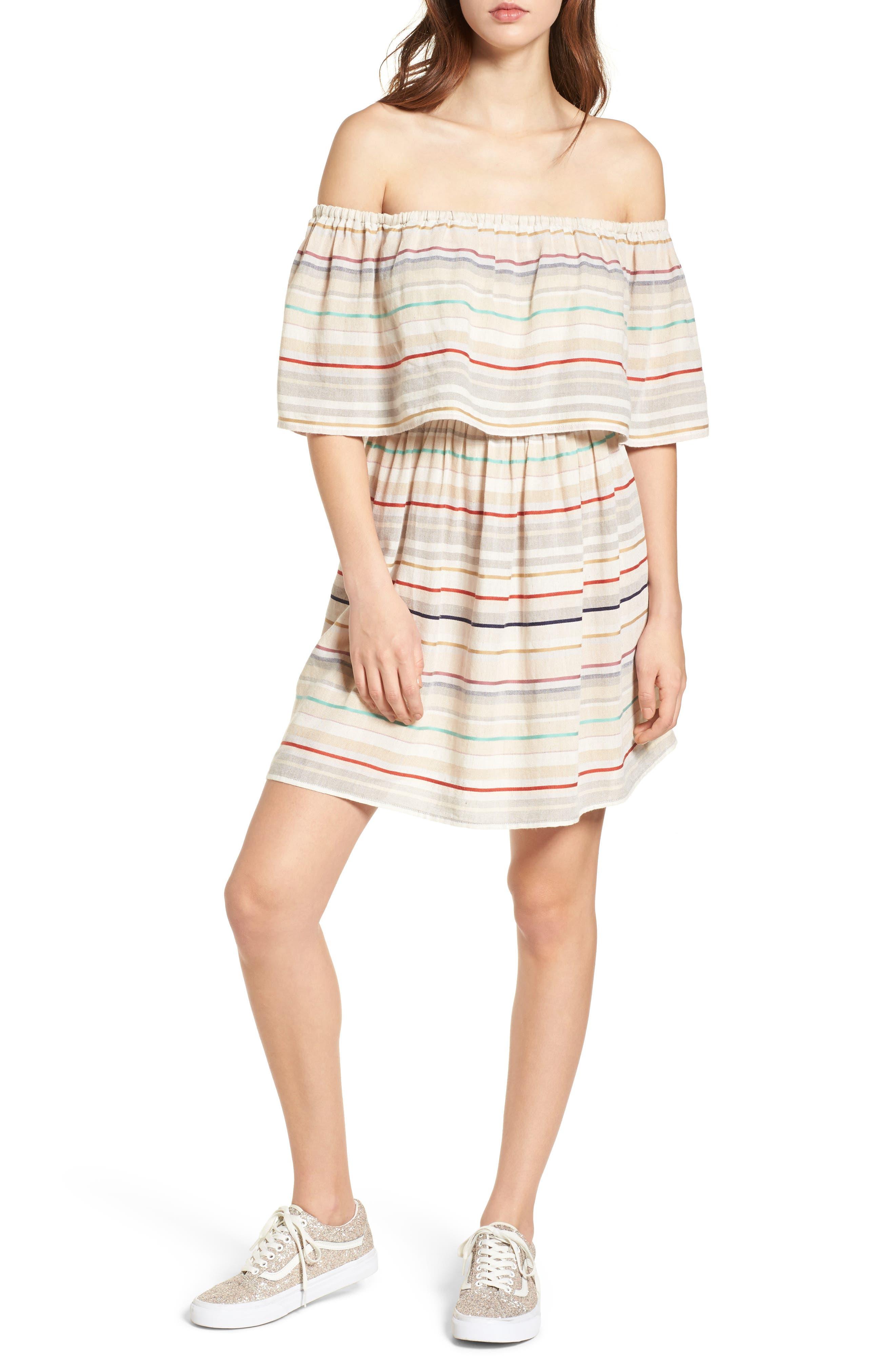 Stripe Off the Shoulder Dress,                             Main thumbnail 1, color,                             Beige Nougat Multi Stripe