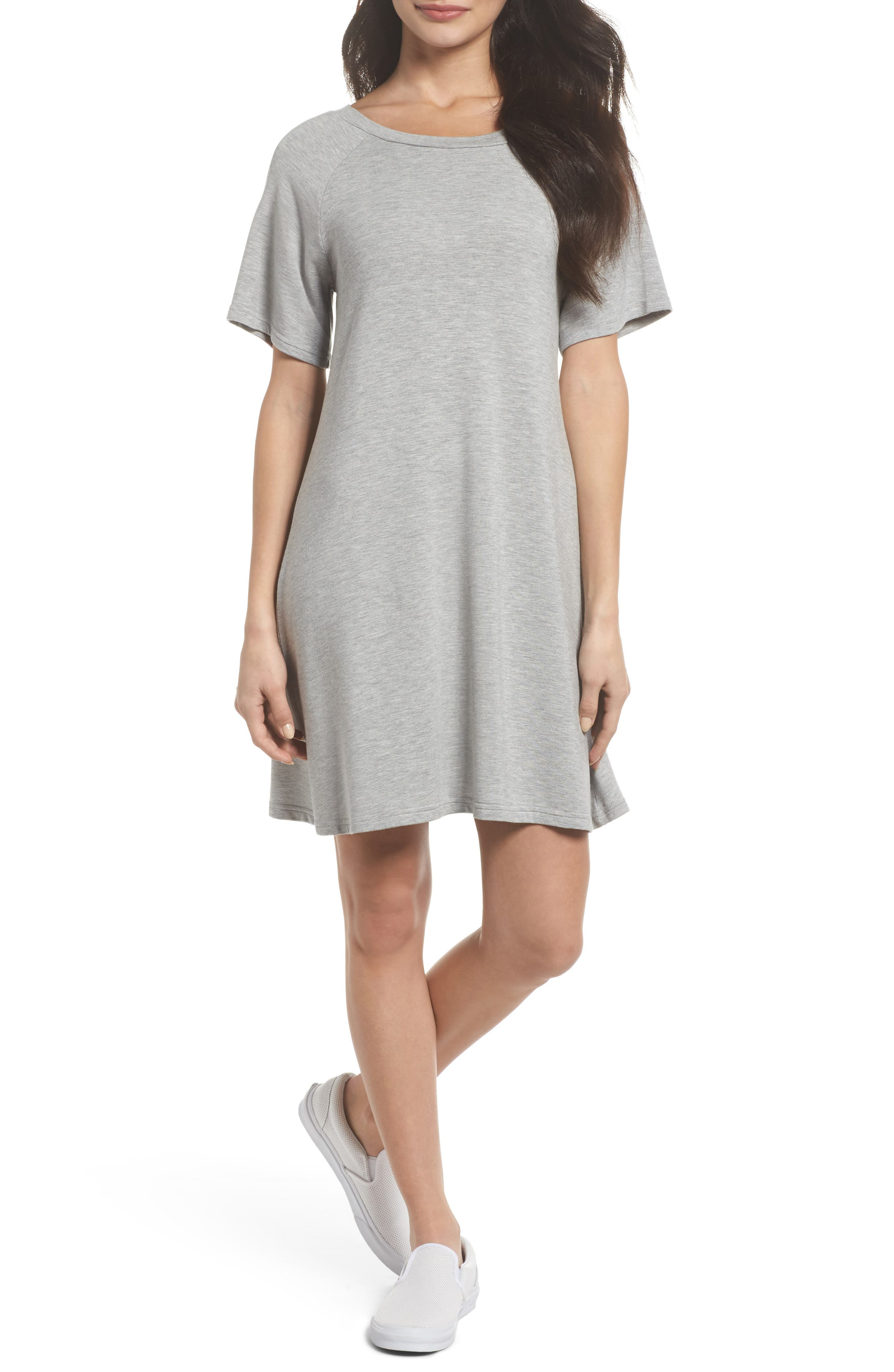 Greer Knit Shift Dress,                             Main thumbnail 1, color,                             Light Heather Grey