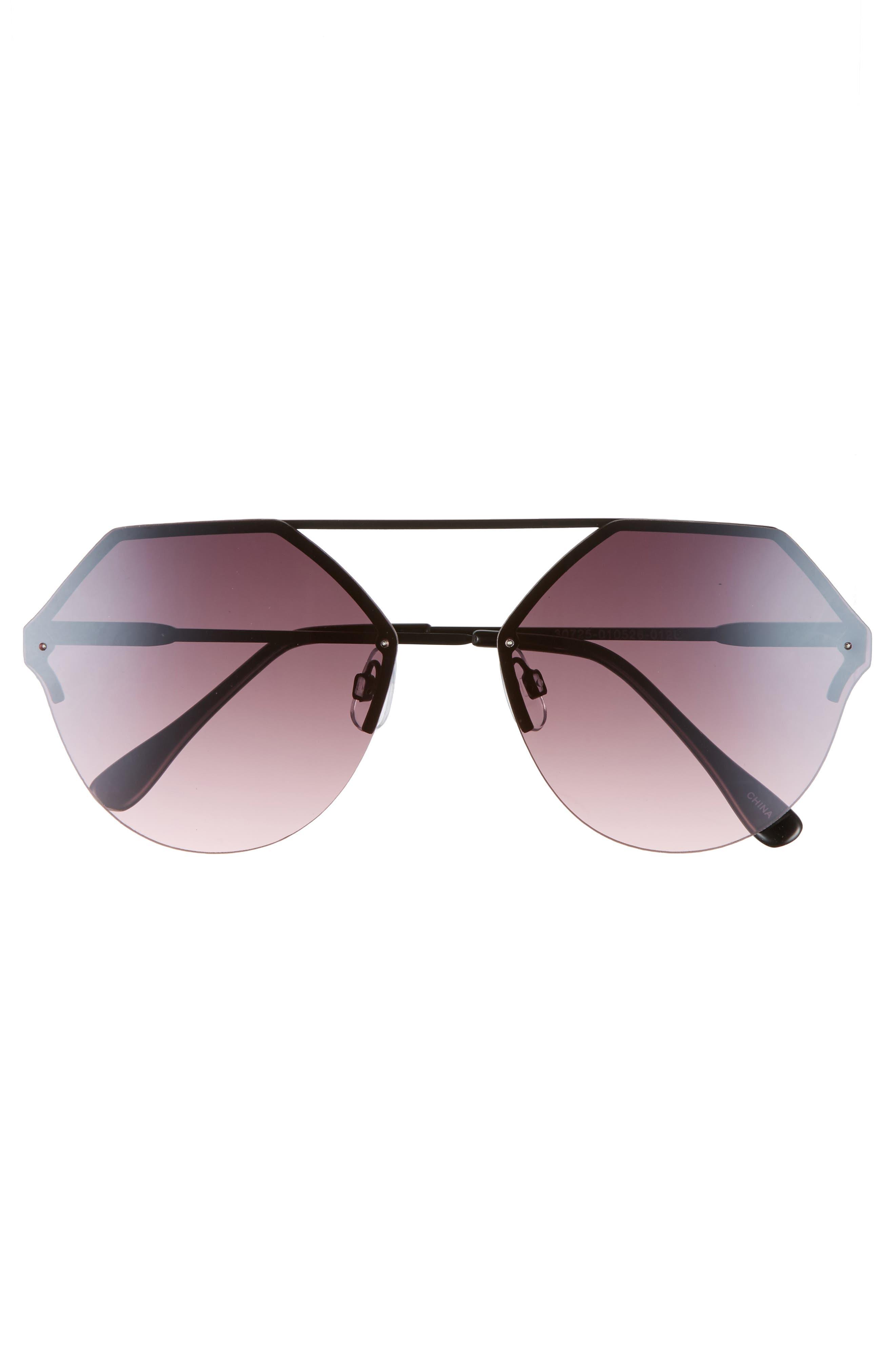 Metal Flat Brow Bar Geometric Sunglasses,                             Alternate thumbnail 3, color,                             Black