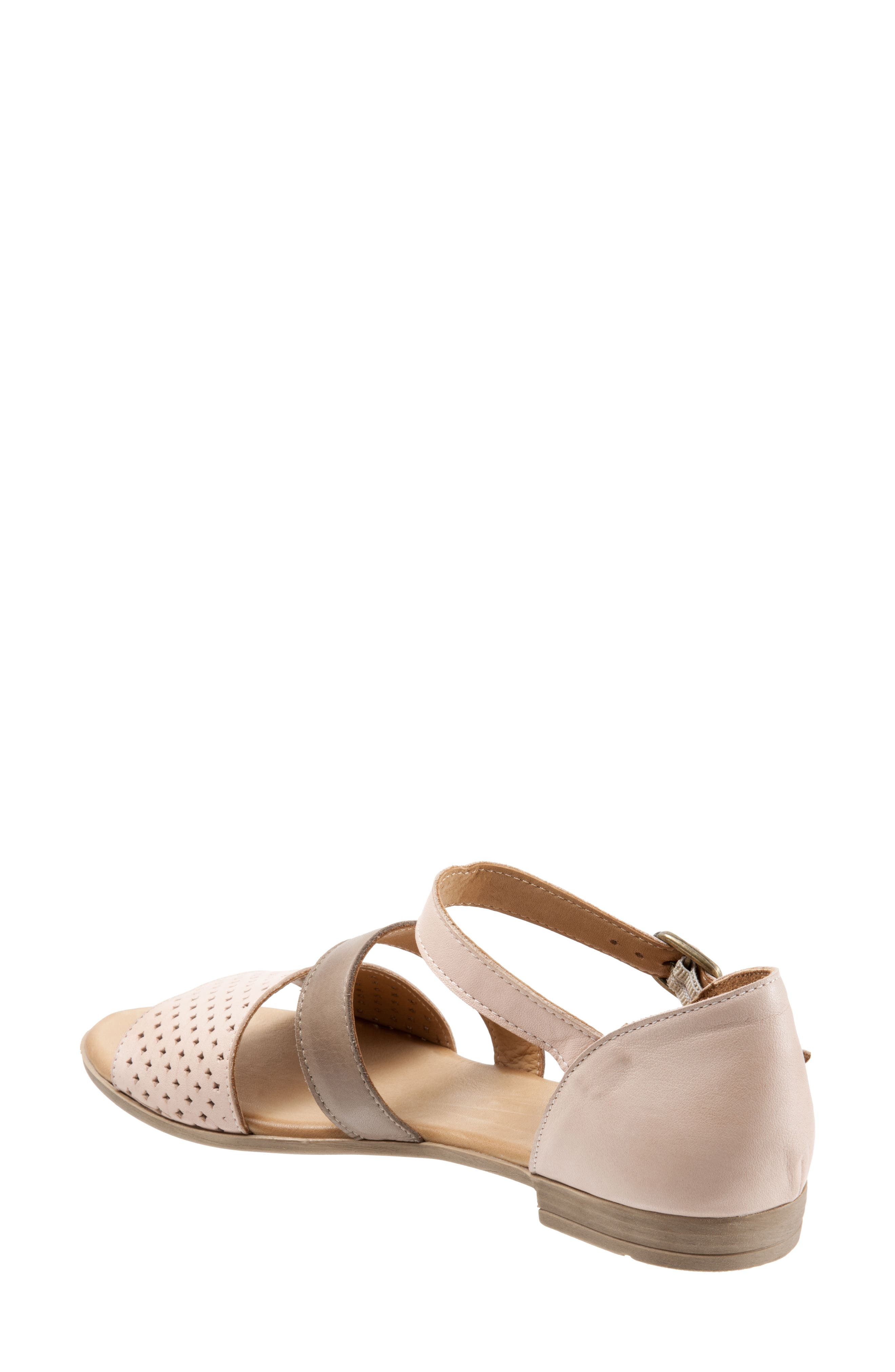 Janet Perforated Flat Sandal,                             Alternate thumbnail 2, color,                             Pale Pink Leather