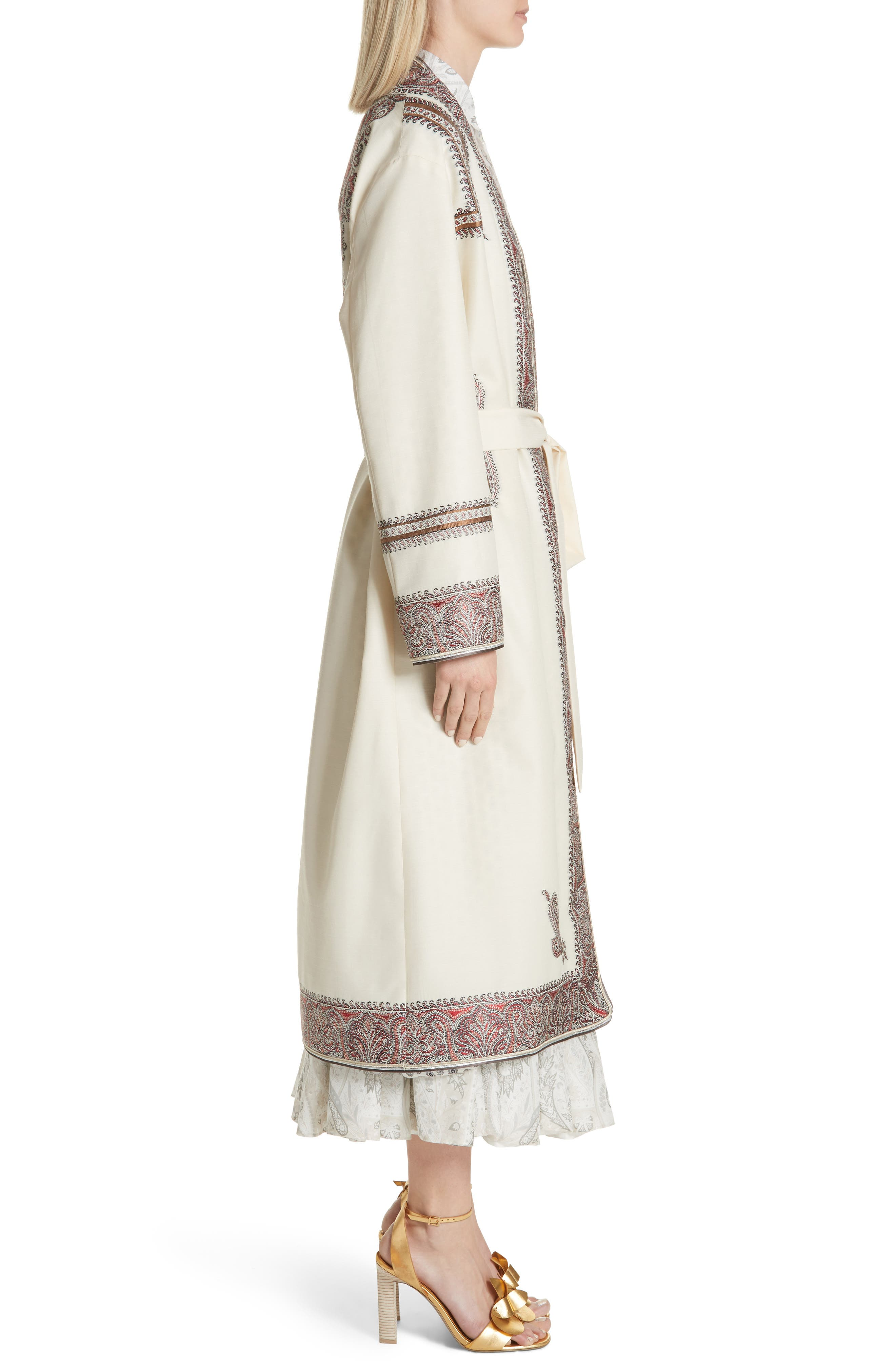 Metallic Embroidered Wrap Coat,                             Alternate thumbnail 3, color,                             White