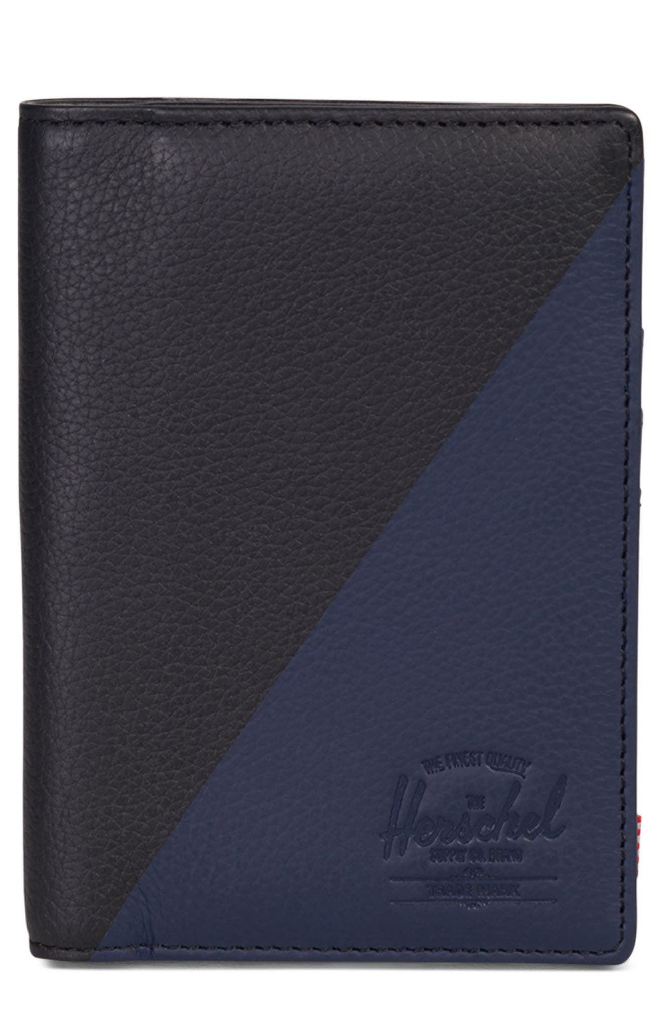 Raynor Offset Leather Wallet,                             Main thumbnail 1, color,                             Black