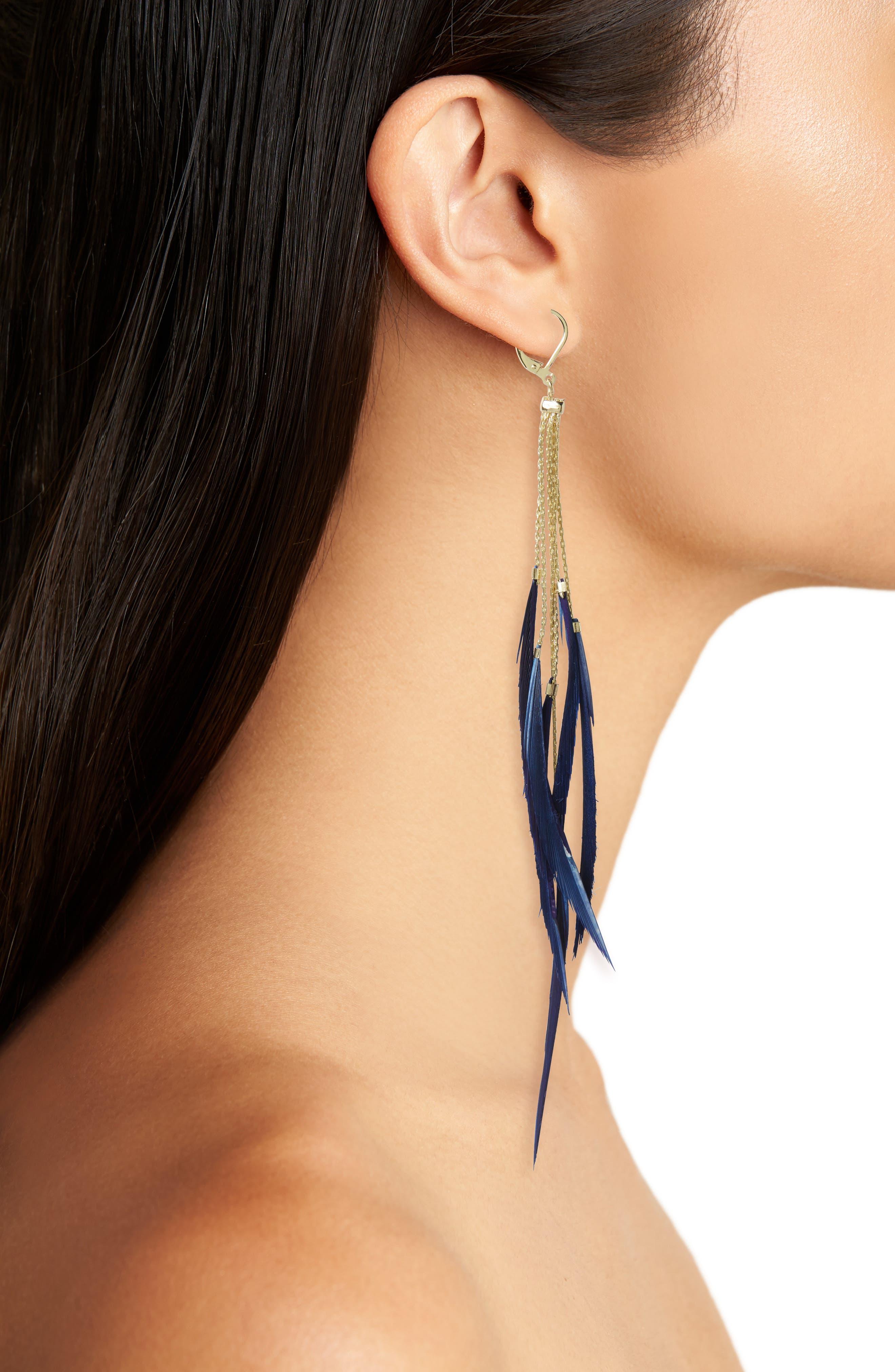 Rachel Duster Earrings,                             Alternate thumbnail 2, color,                             Navy