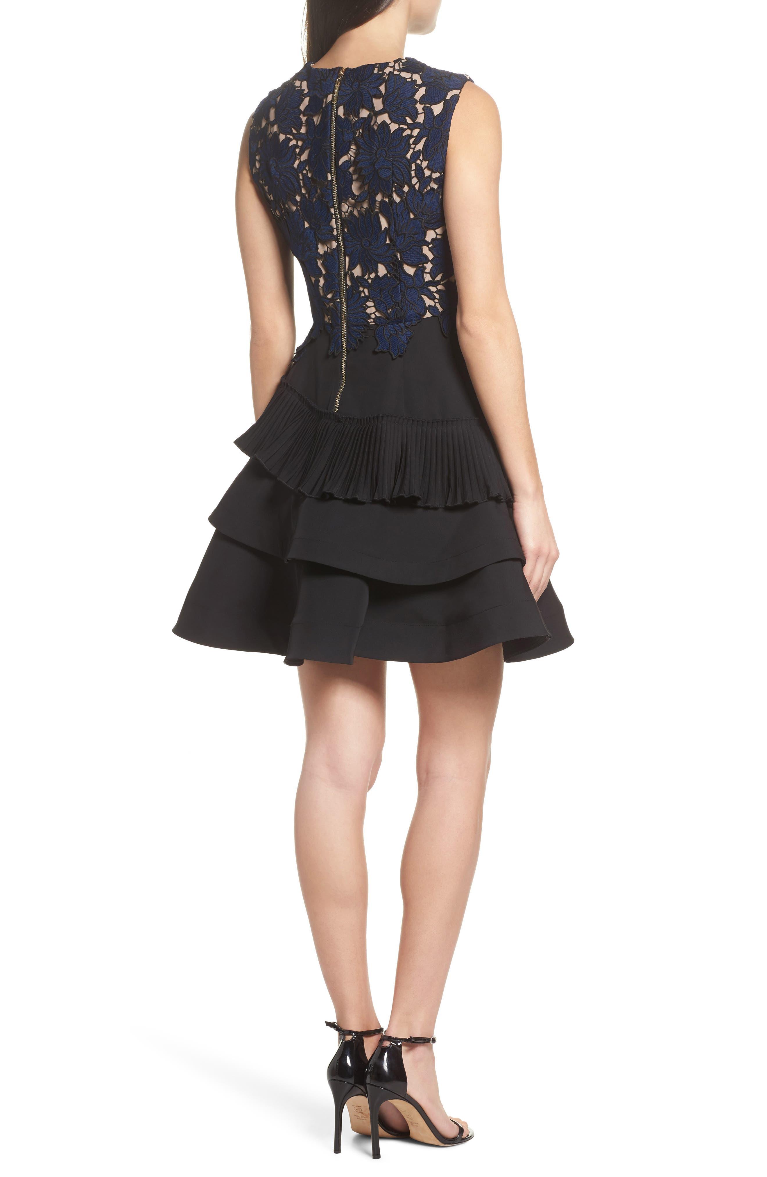 Alexa Lace & Ruffle Tier Dress,                             Alternate thumbnail 3, color,                             Black/ Navy