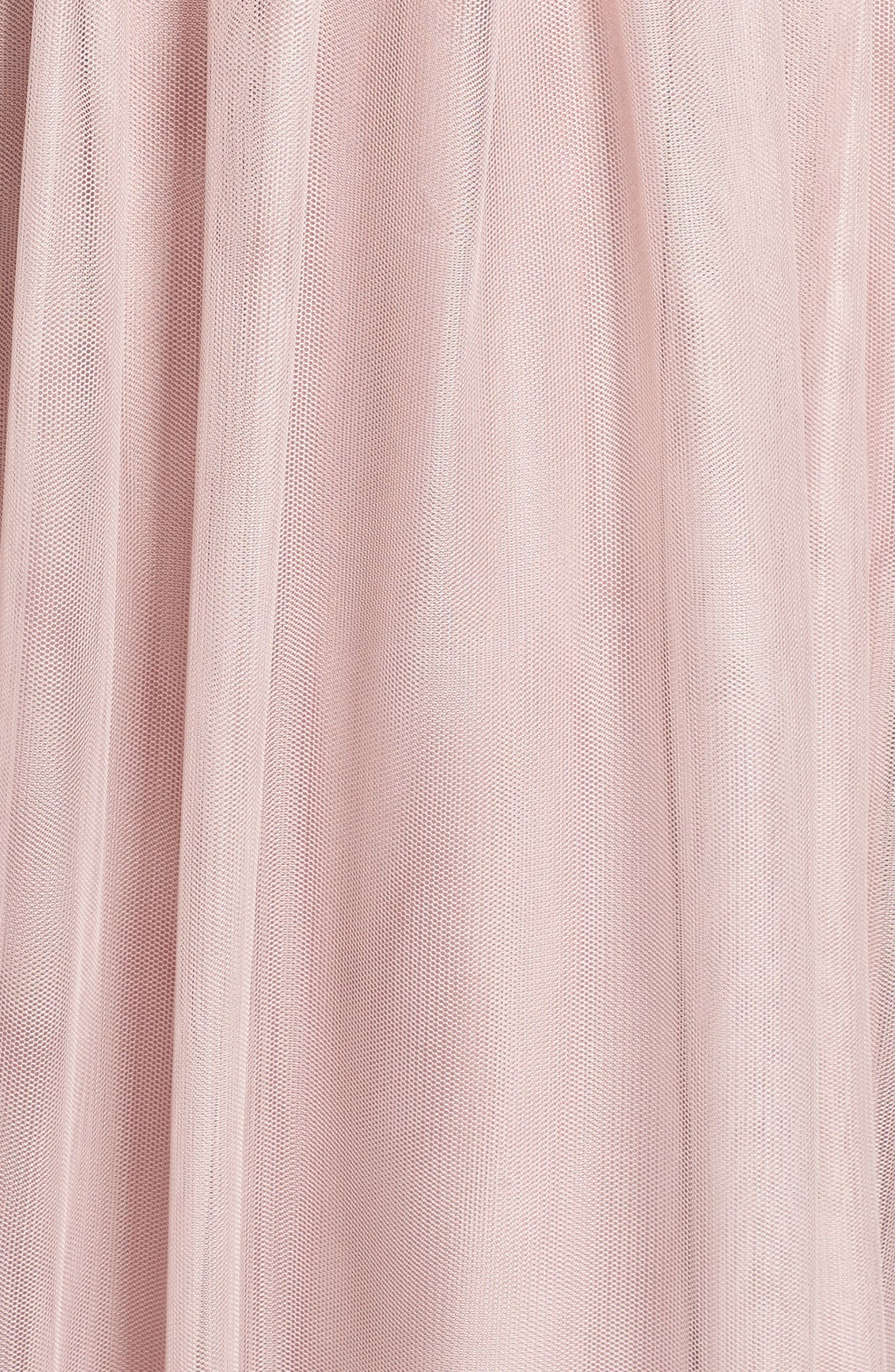 Embroidered Bodice Net Gown,                             Alternate thumbnail 6, color,                             Dusty Rose