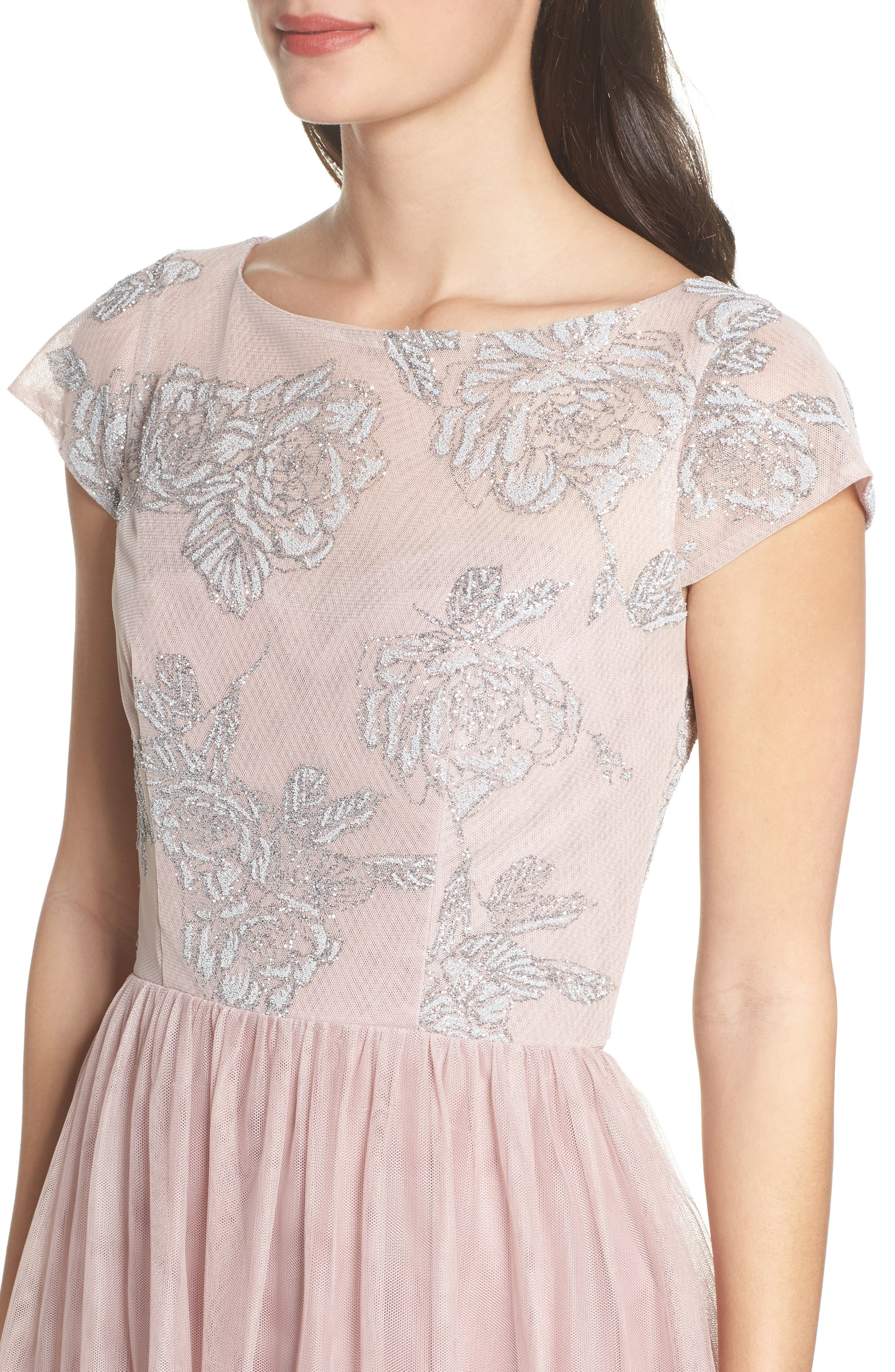 Embroidered Bodice Net Gown,                             Alternate thumbnail 4, color,                             Dusty Rose