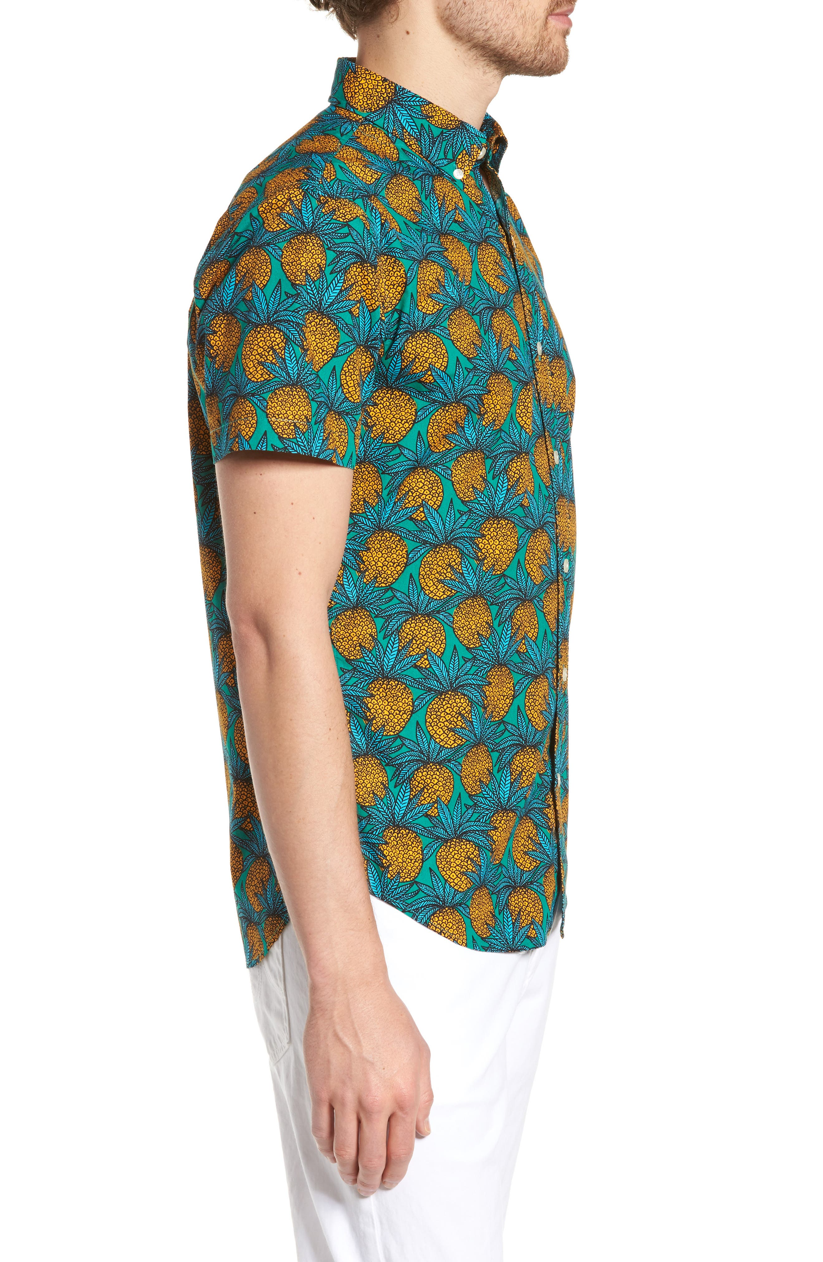 Slim Fit Print Short Sleeve Sport Shirt,                             Alternate thumbnail 4, color,                             Pineapple Fields - Lush Meadow