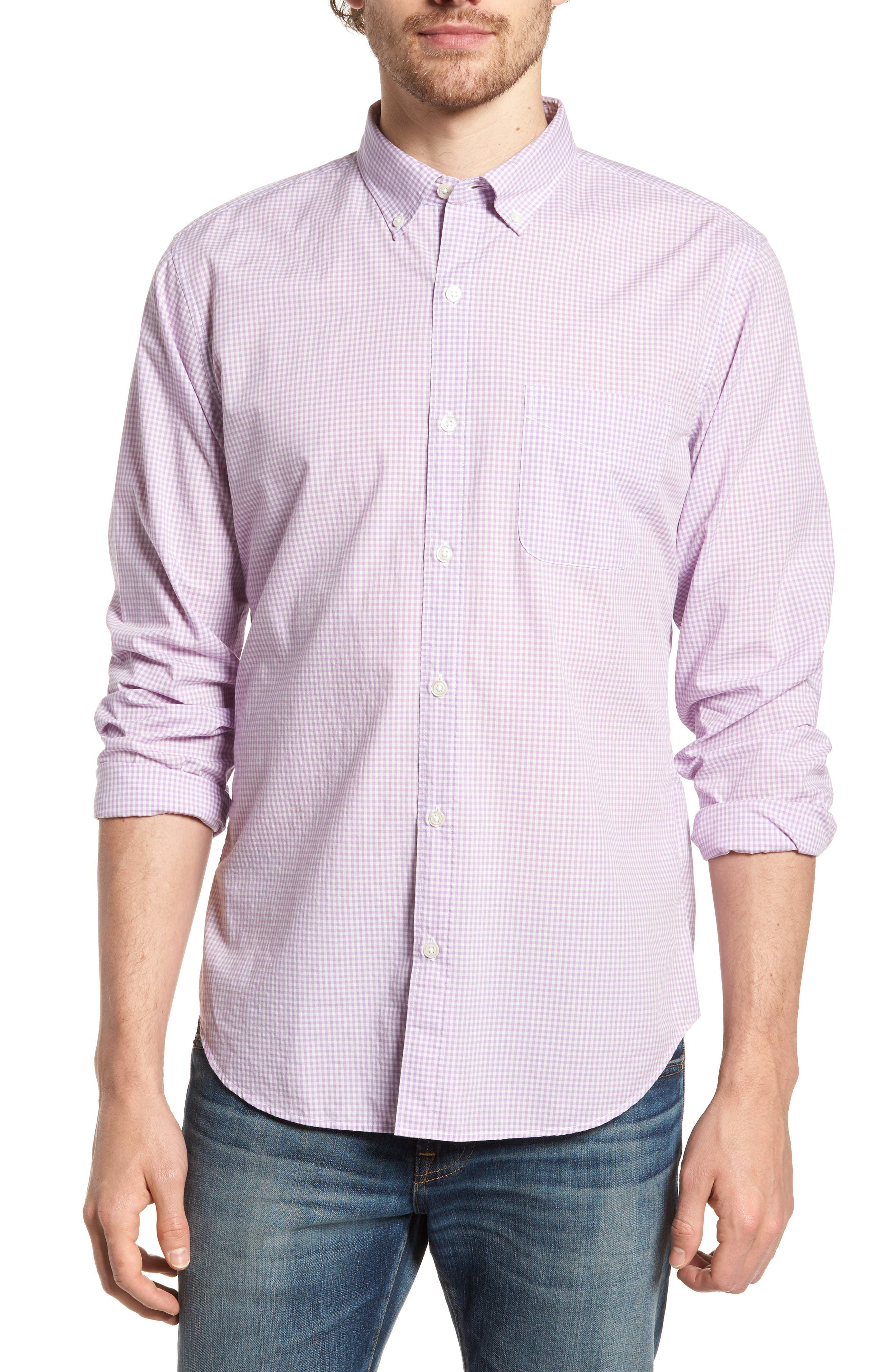 Slim Fit Summerweight Check Sport Shirt,                         Main,                         color, Bondi Gingham - Lavender