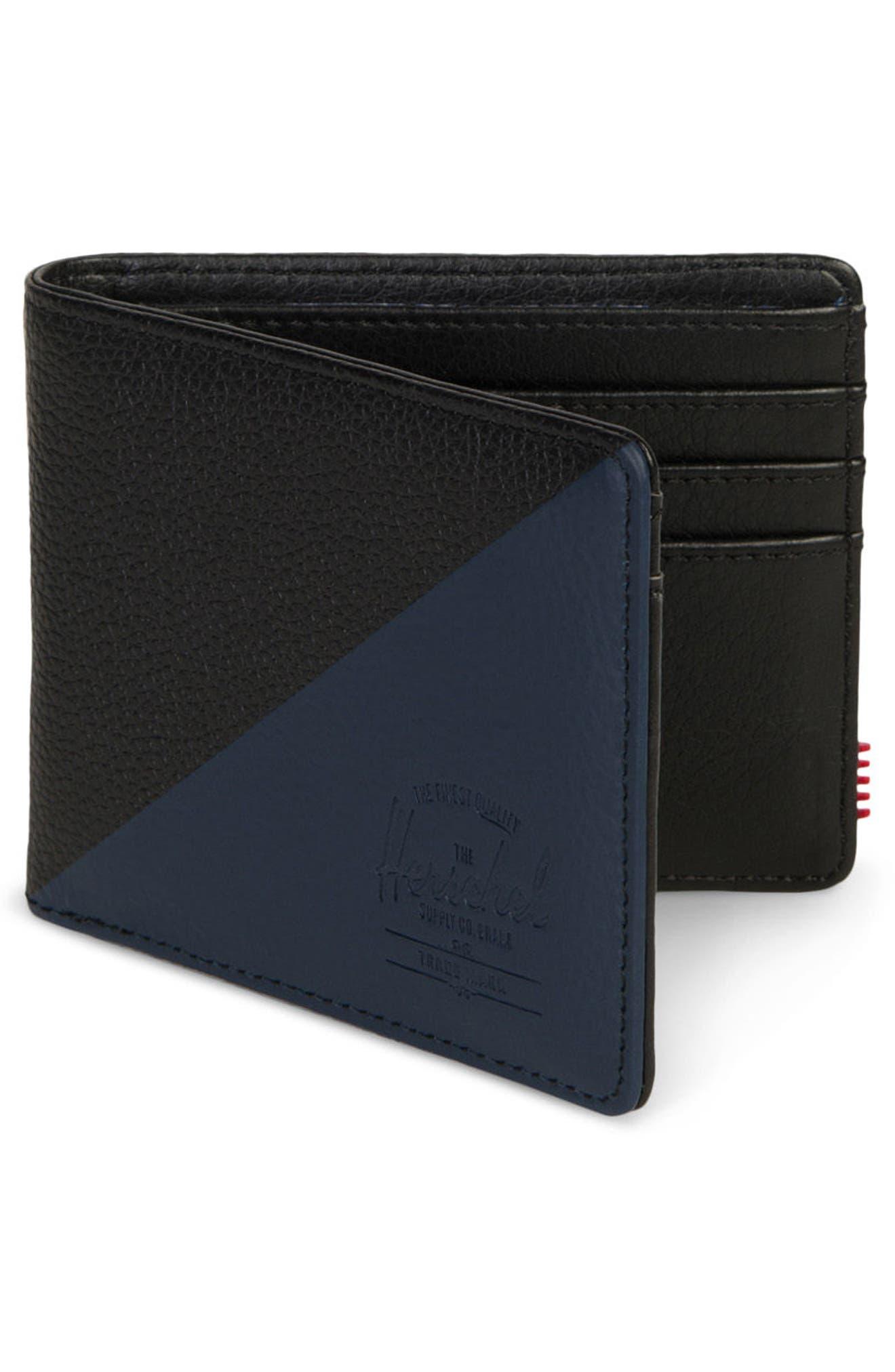 Hank Leather Wallet,                             Alternate thumbnail 3, color,                             Black