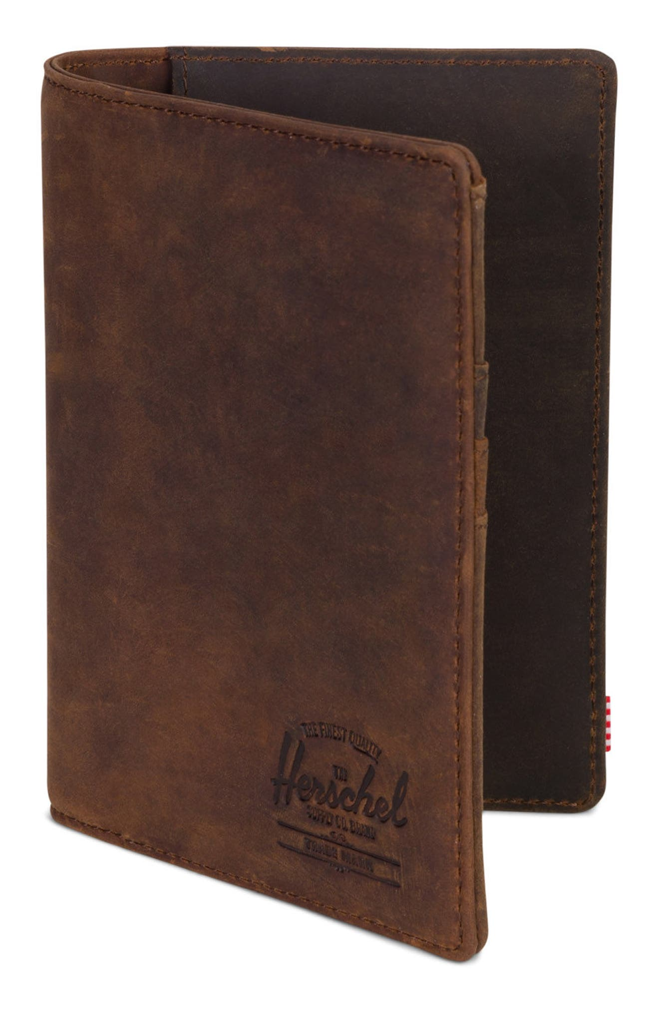 Raynor Nubuck Leather Passport Holder,                             Alternate thumbnail 3, color,                             Brown