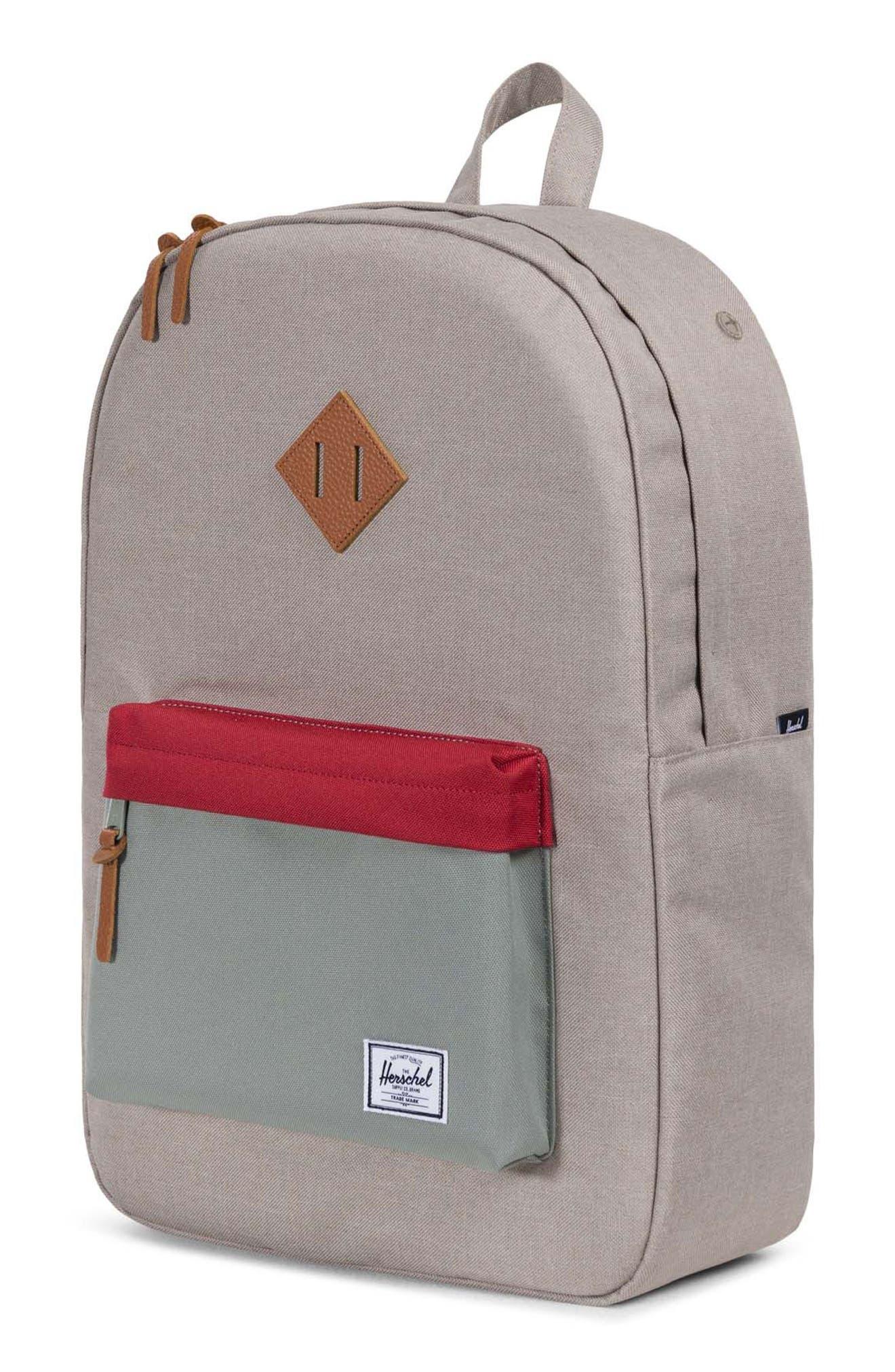Heritage Backpack,                             Alternate thumbnail 4, color,                             Khaki/ Shadow/ Brick Red/ Tan