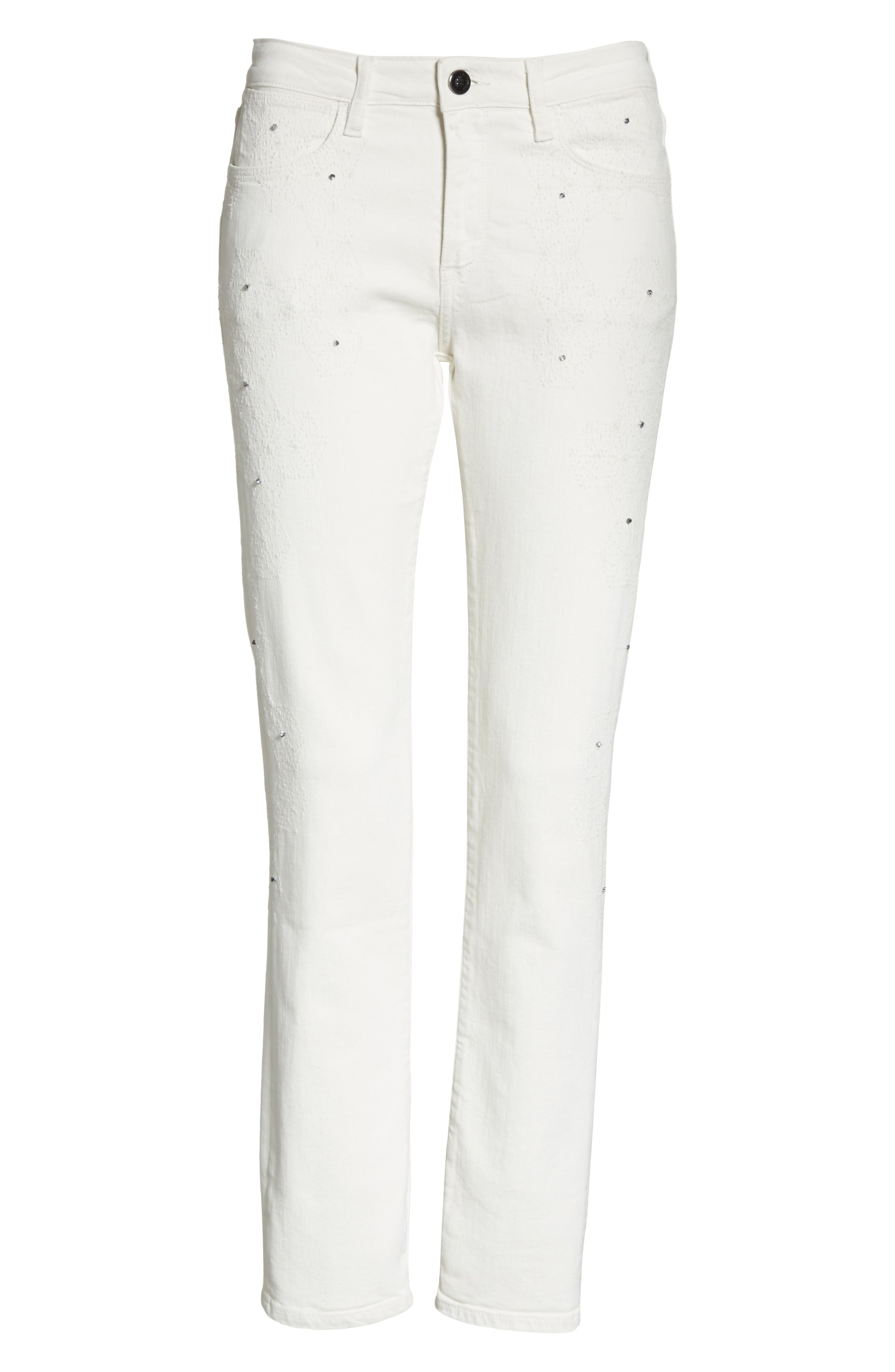 Lilly Crop Slim Fit Jeans,                             Alternate thumbnail 6, color,                             Kristal White