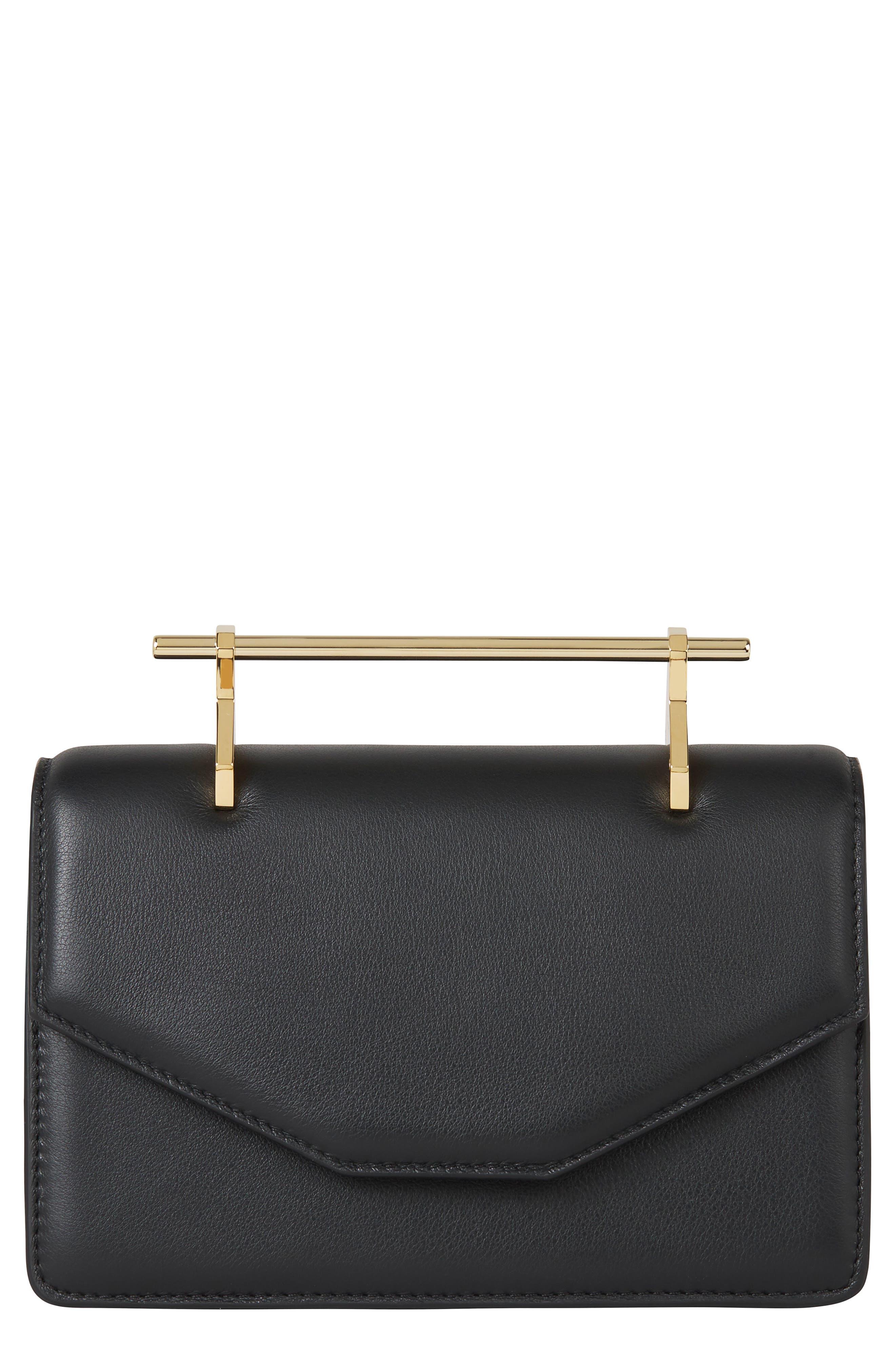 Indre Leather Shoulder Bag,                         Main,                         color, Black/ Gold