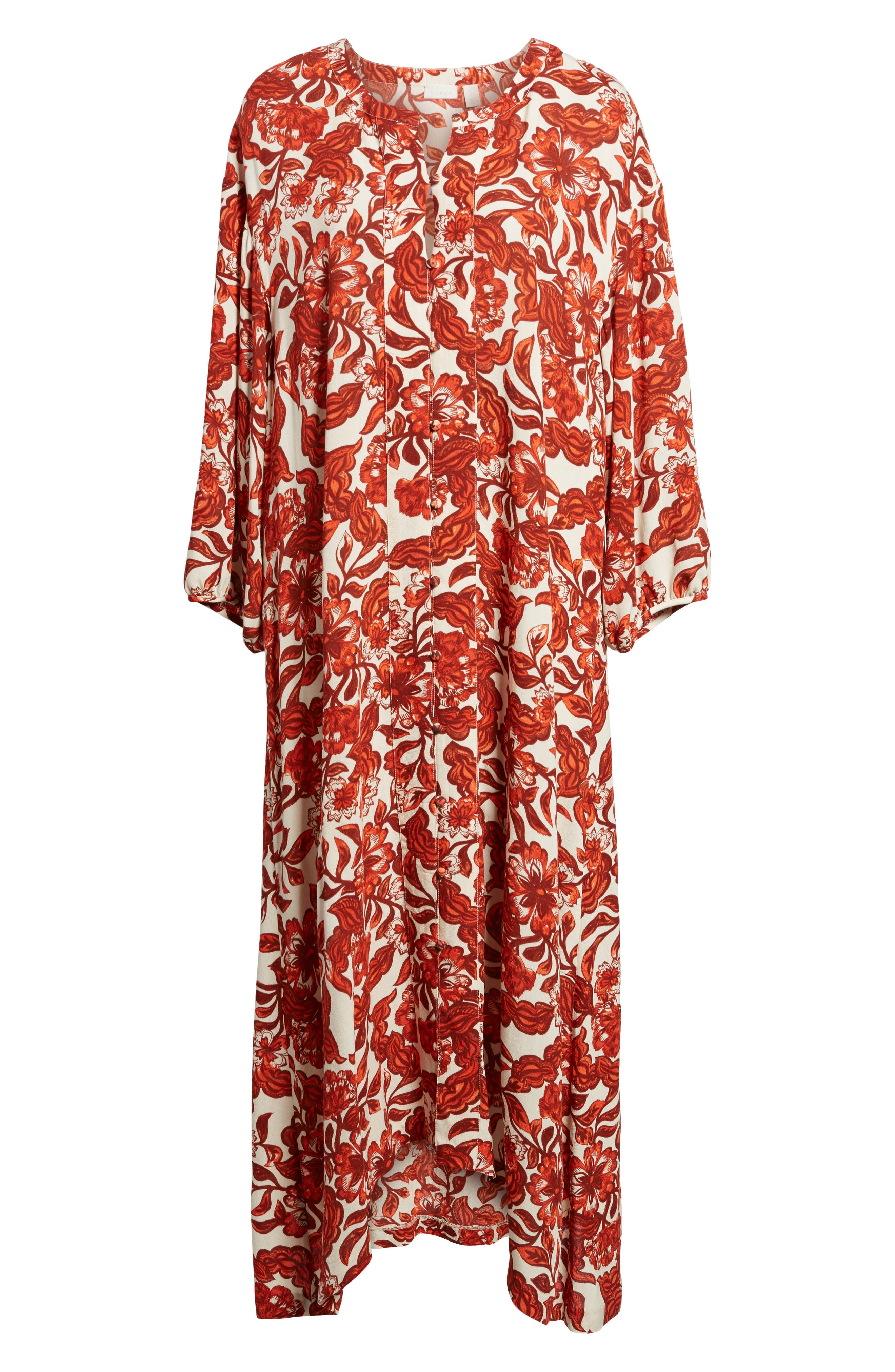 Floral Print Maxi Dress,                             Alternate thumbnail 6, color,                             Red Lava Snap Floral