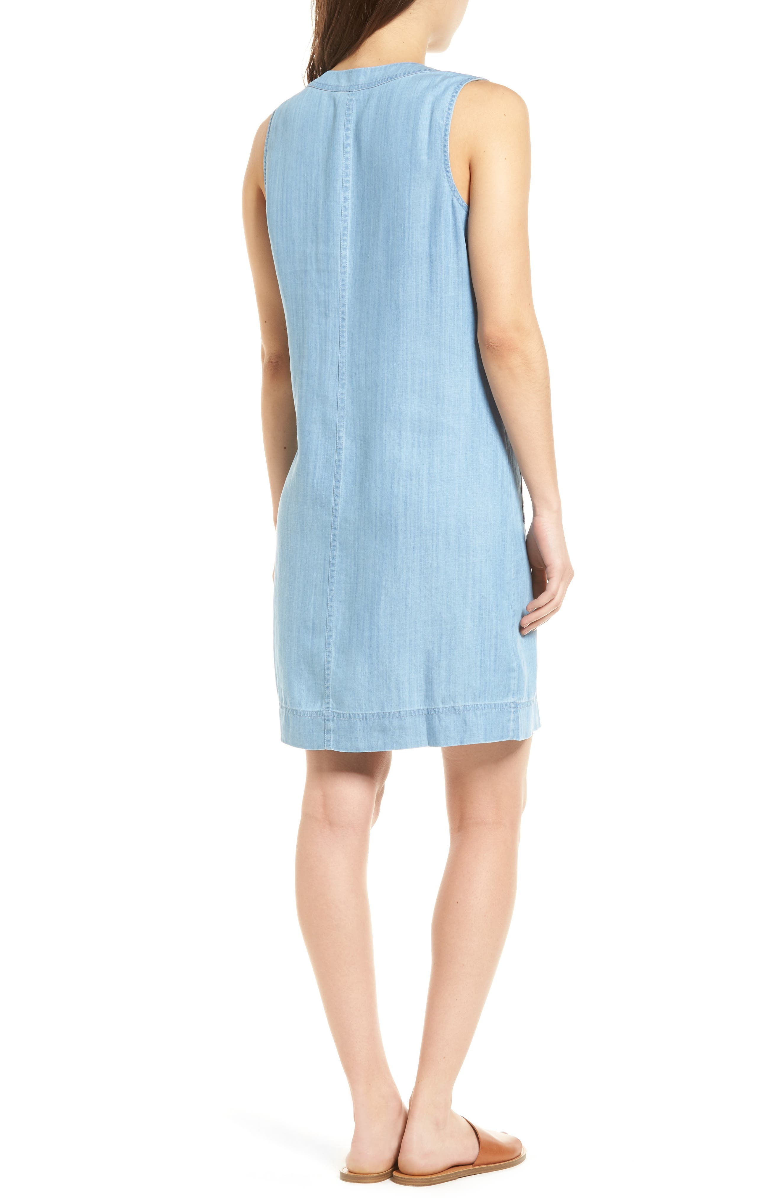 Lace-Up Chambray Shift Dress,                             Alternate thumbnail 2, color,                             Light Storm Wash