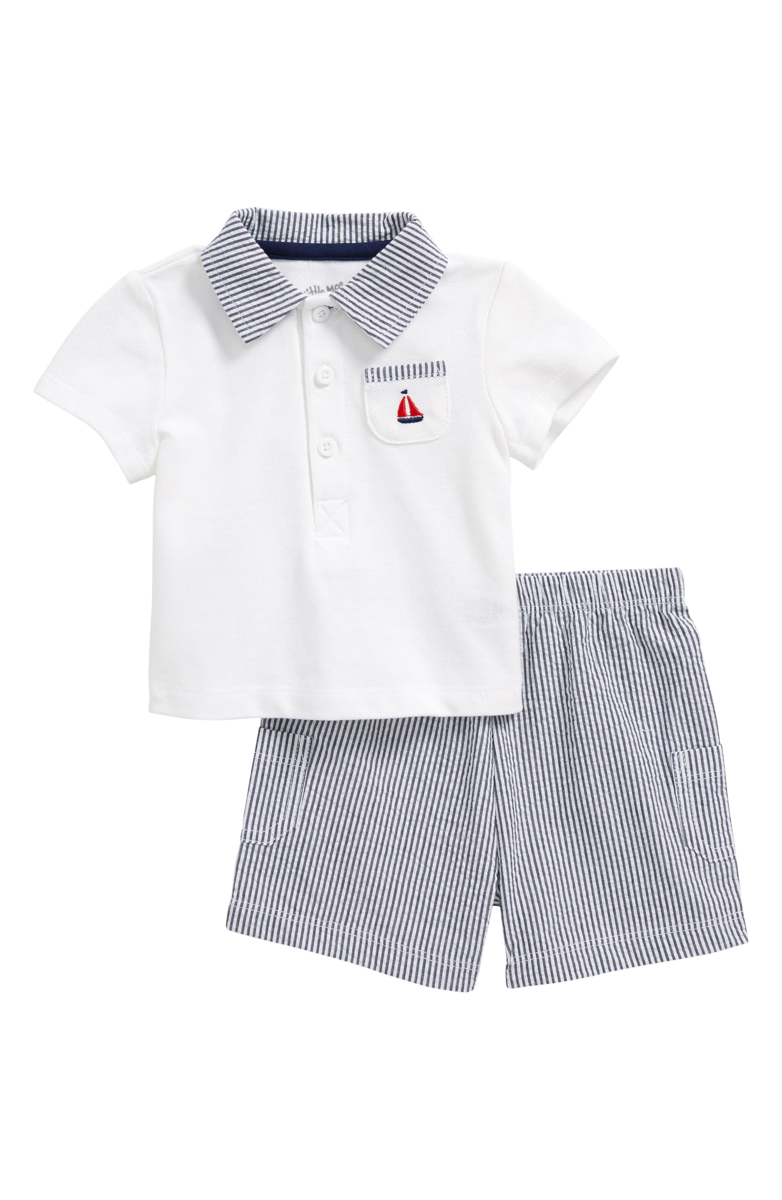 Little Me Sailboat Piqué Polo & Short Set (Baby Boys)