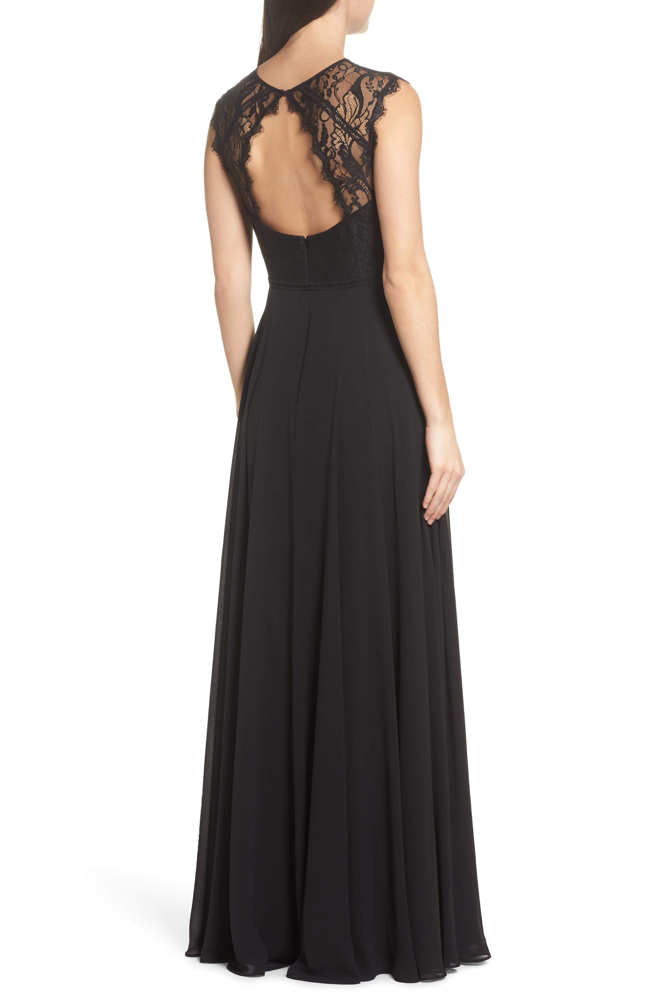 Alternate Image 2  - Hayley Paige Occasions Lace & Chiffon Gown