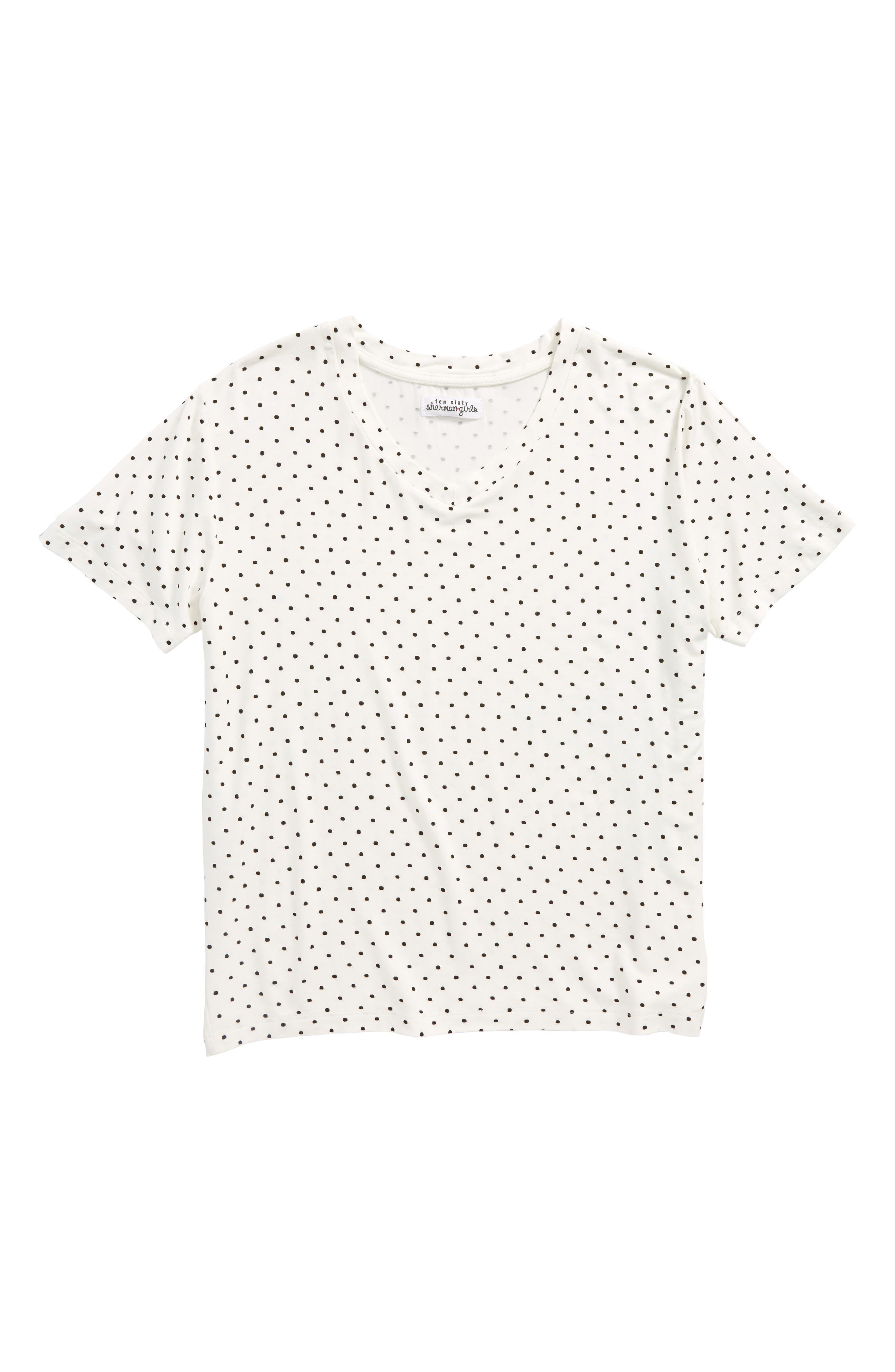 Polka Dot Tee,                         Main,                         color, White/ Black