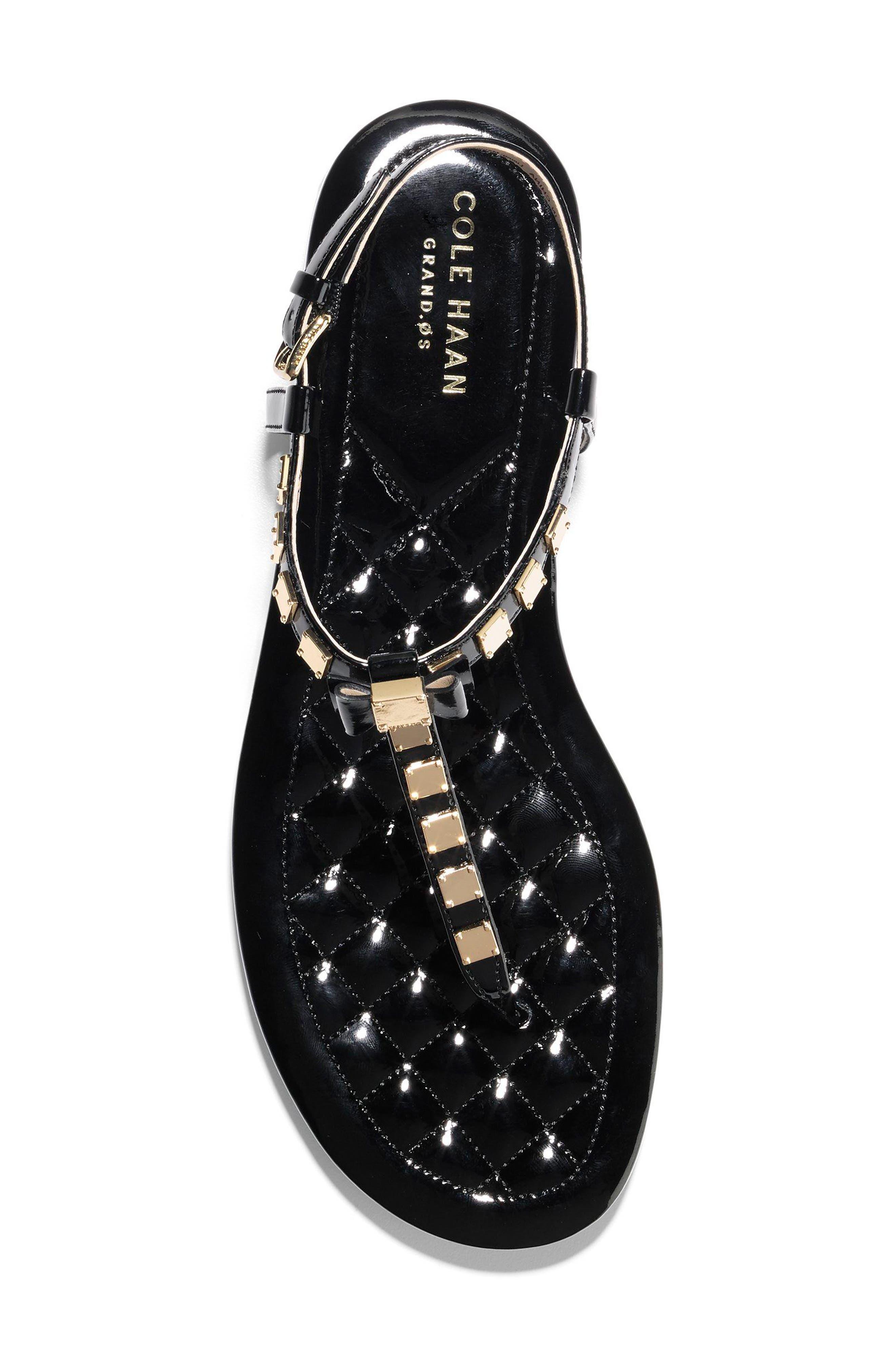 Tali Mini Bow Sandal,                             Alternate thumbnail 5, color,                             Black Patent