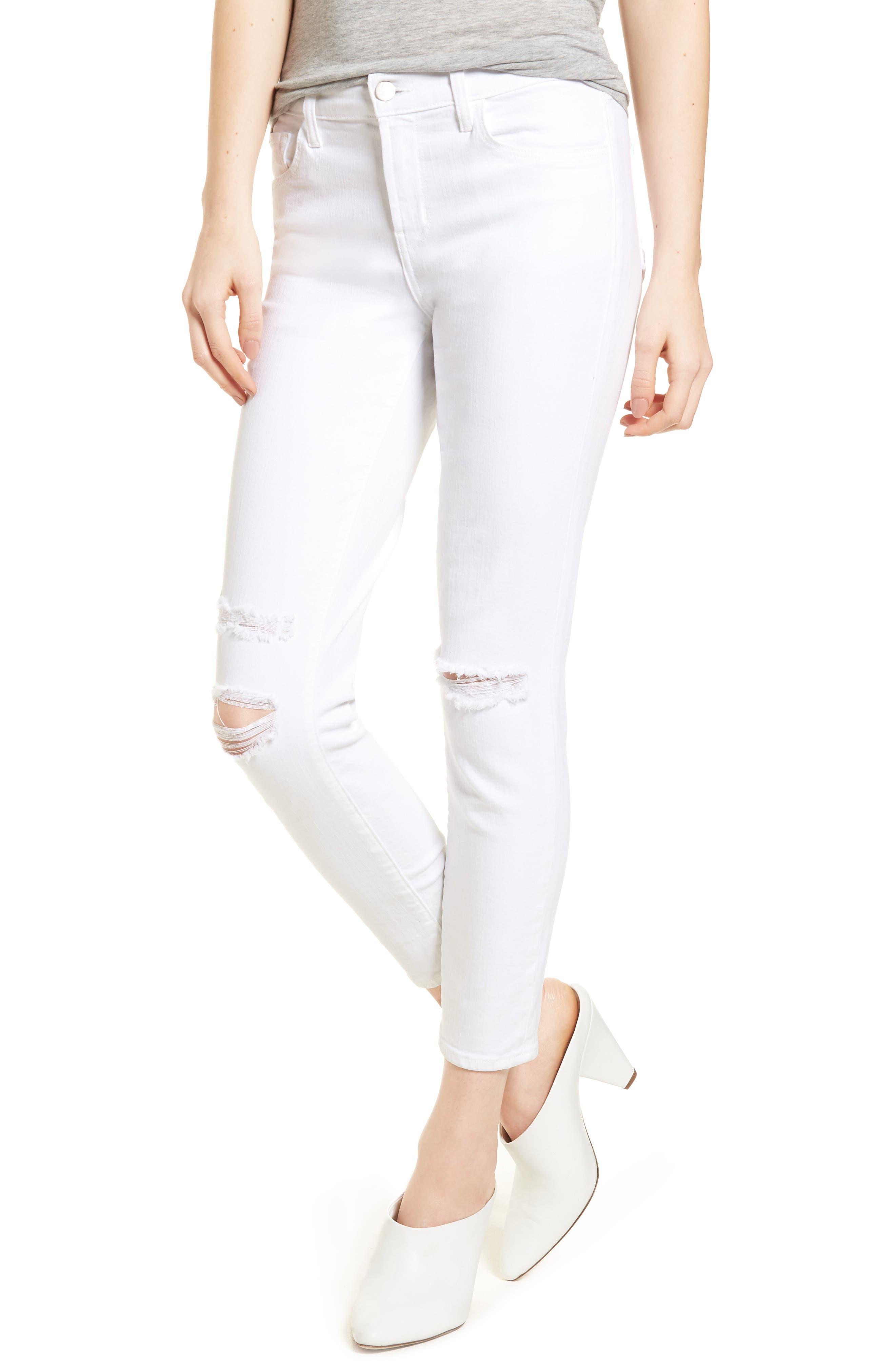 Mid-Rise Capri Skinny Jeans,                             Main thumbnail 1, color,                             White Mercy