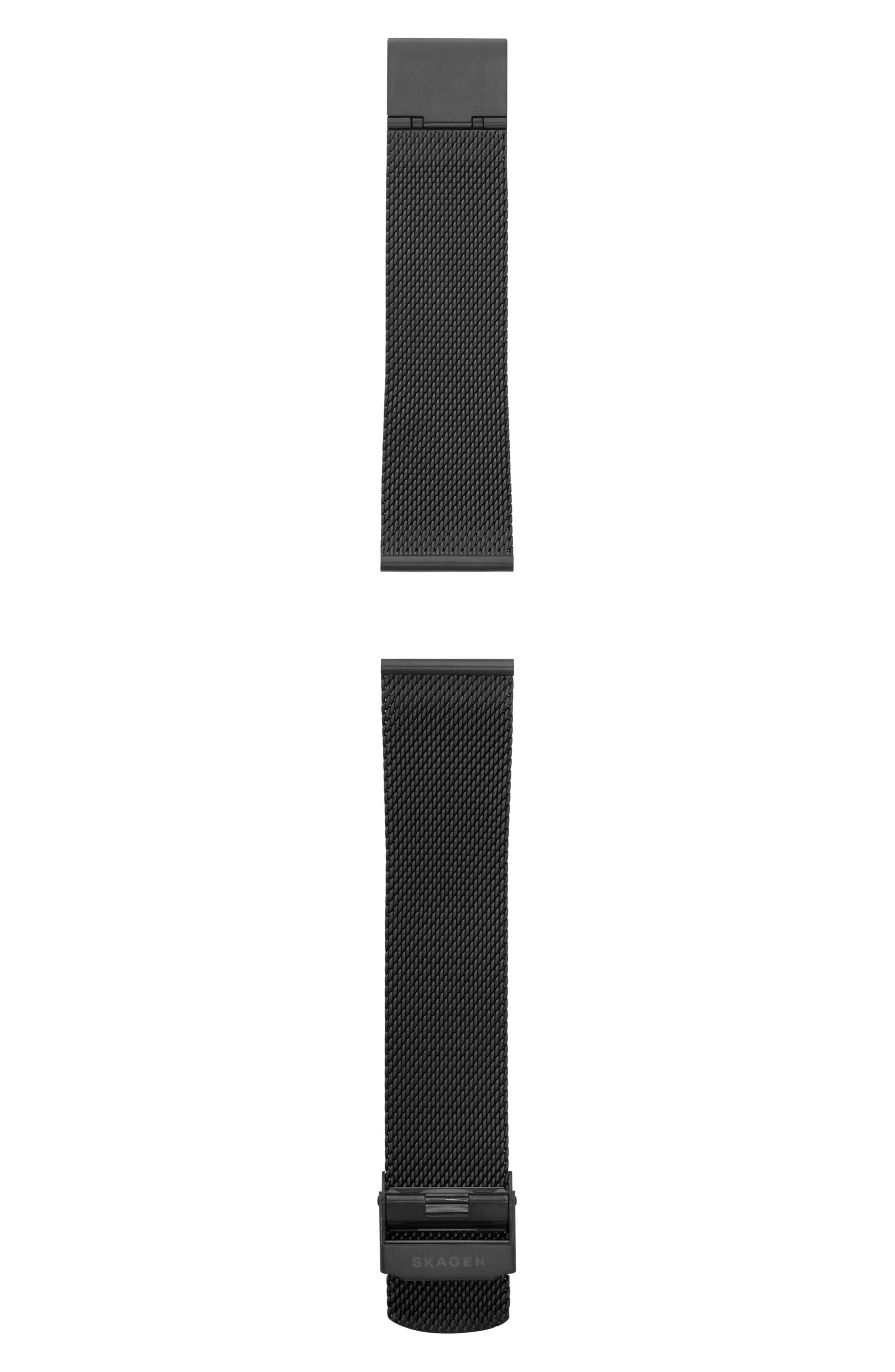 Mesh Watch Strap, 22mm,                         Main,                         color, Black