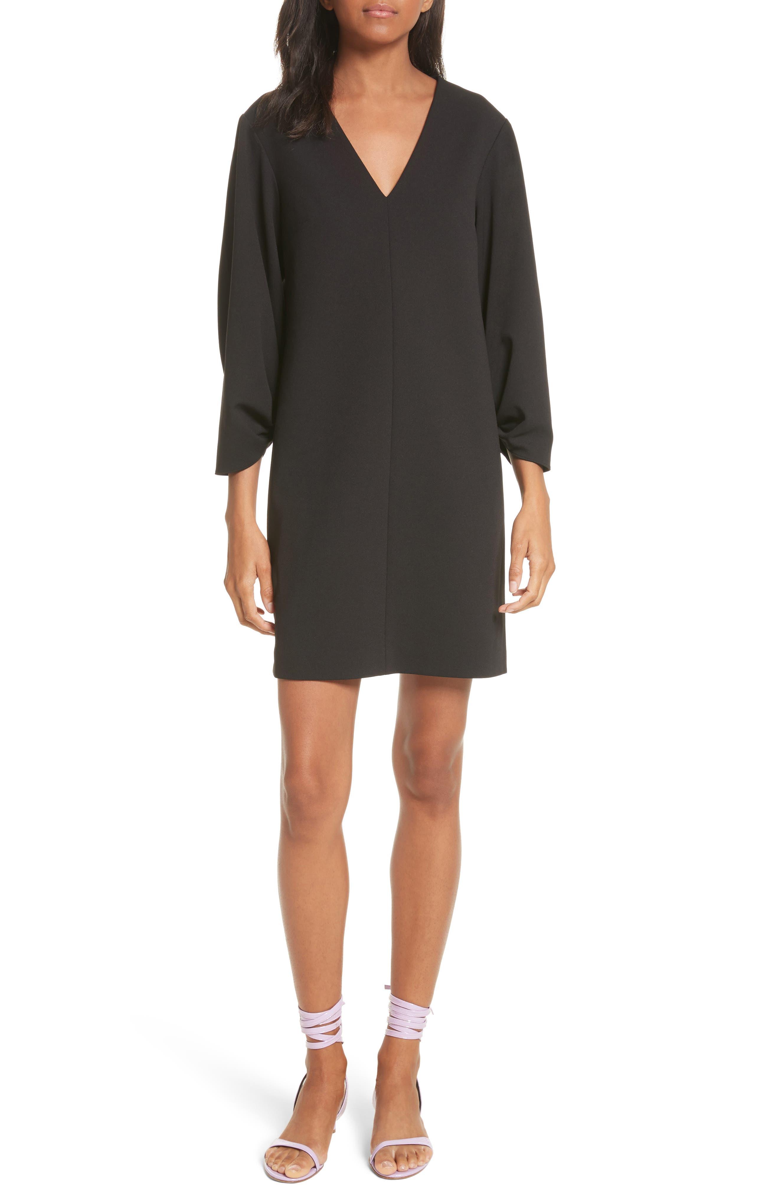 Crepe Balloon Sleeve Dress,                             Main thumbnail 1, color,                             Black