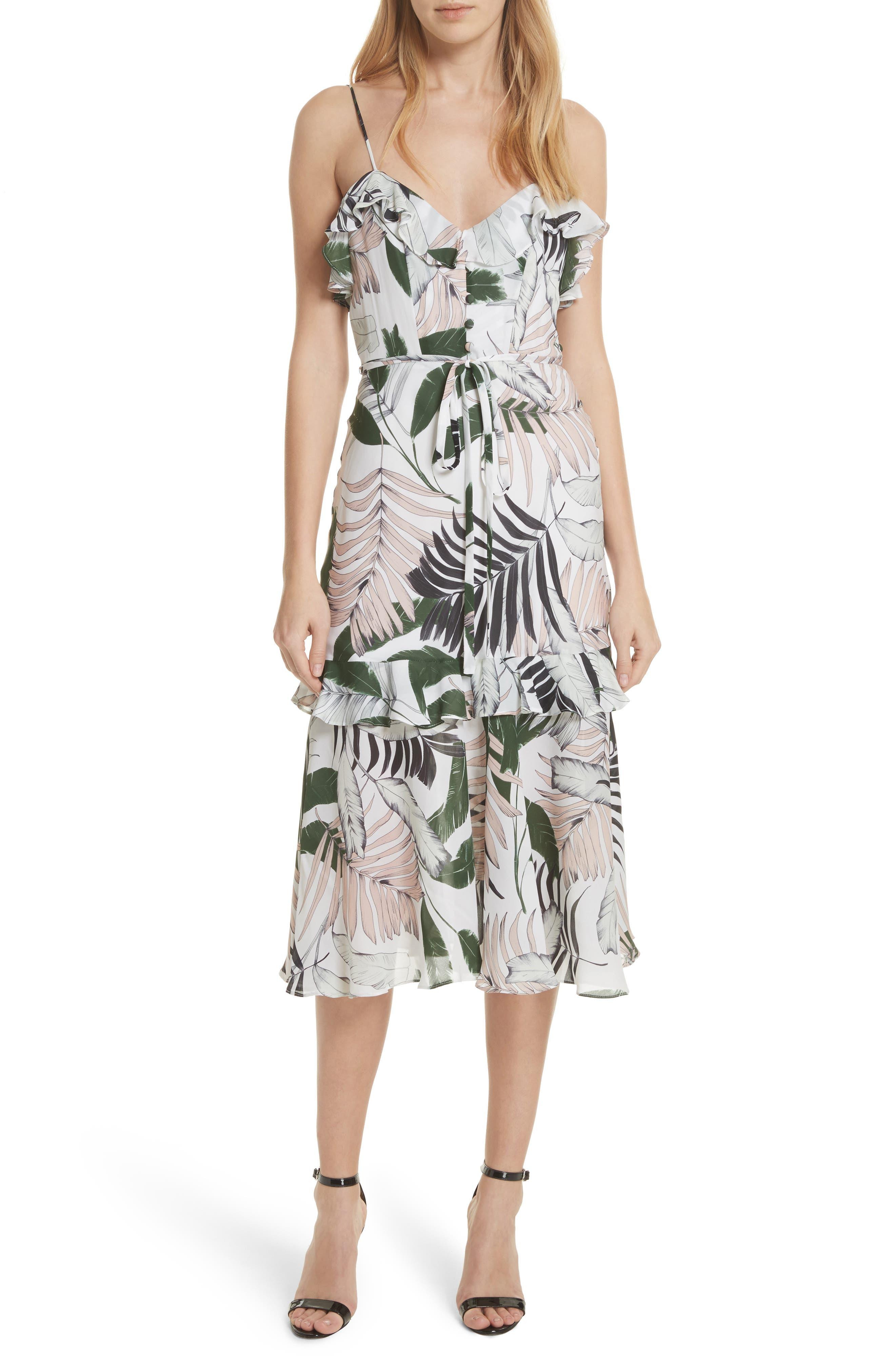 Petal Print Silk Midi Dress,                             Main thumbnail 1, color,                             Multi