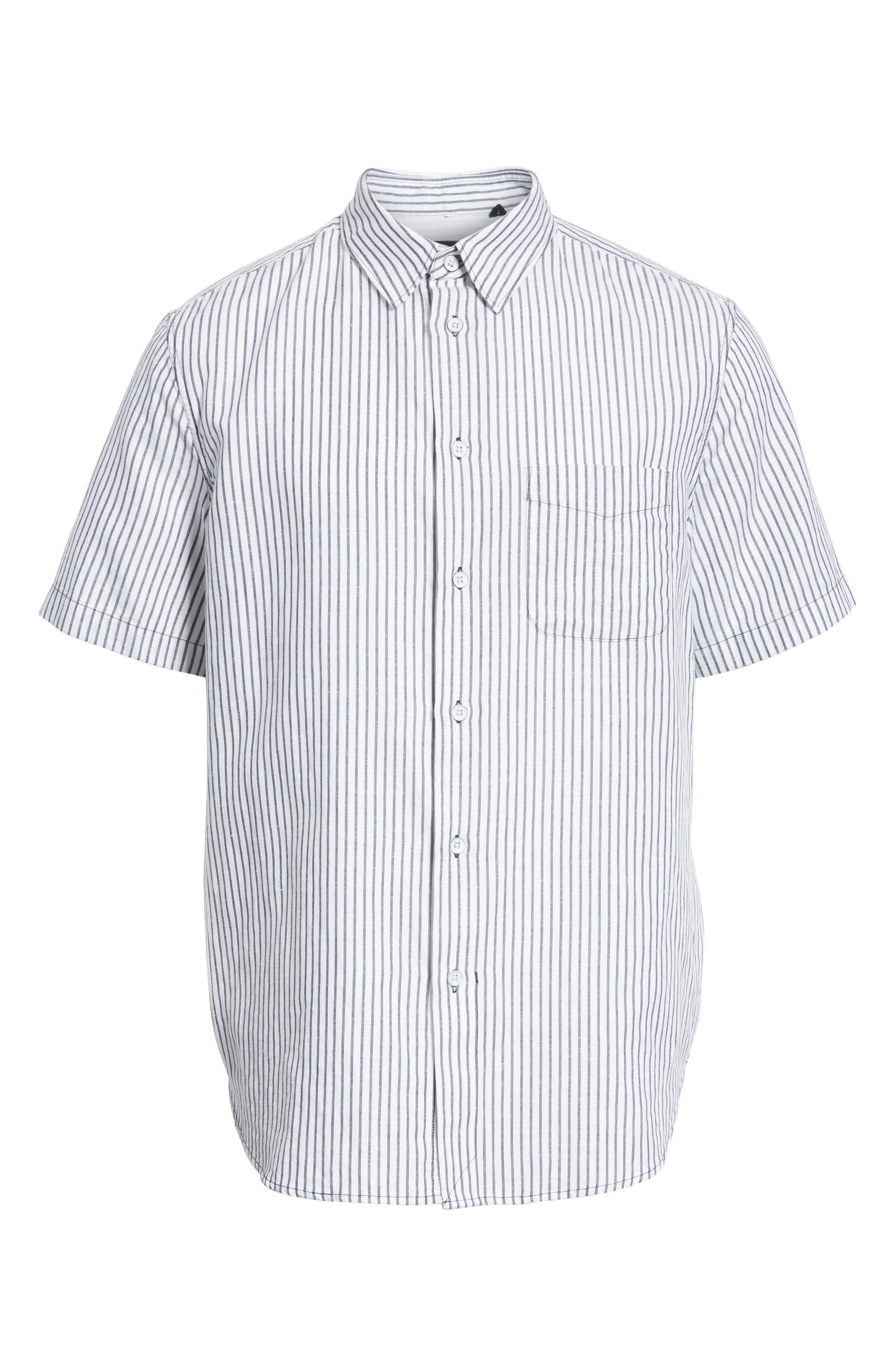 Stripe Short Sleeve Sport Shirt,                             Alternate thumbnail 6, color,                             White/Navy