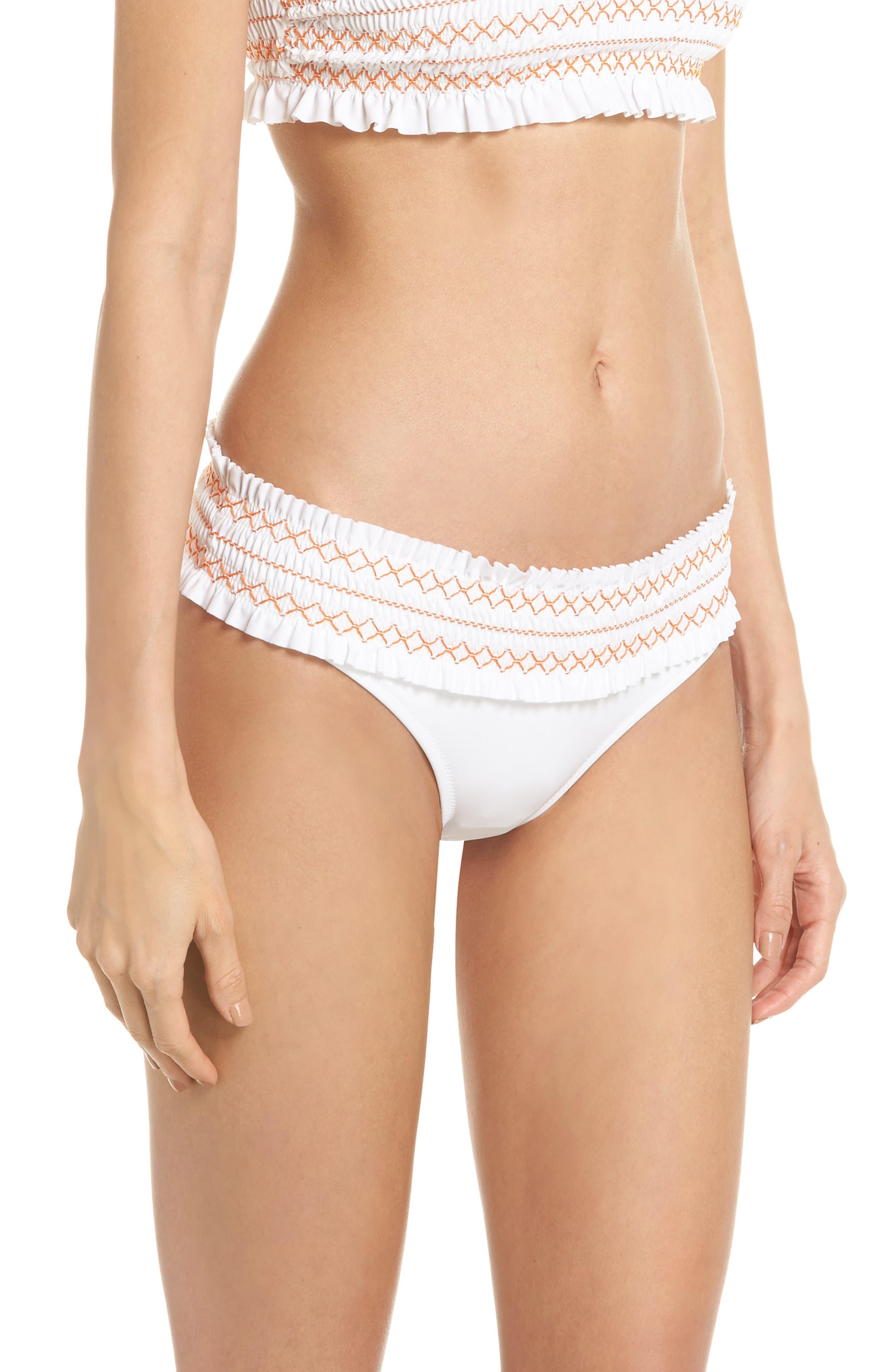 Alternate Image 3  - Tory Burch Costa Smocked Hipster Bikini Bottoms