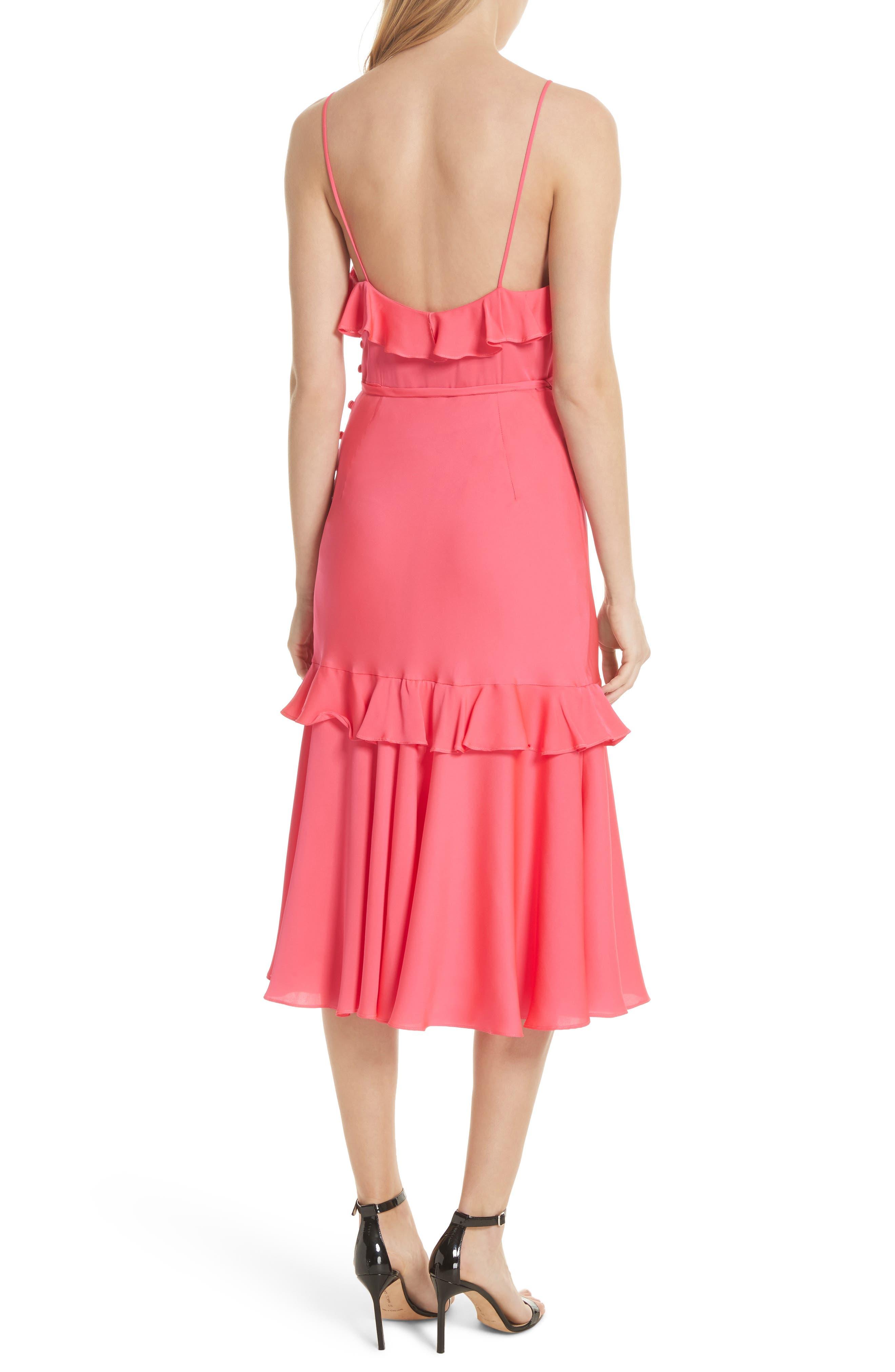 Petal Stretch Silk Midi Dress,                             Alternate thumbnail 2, color,                             Guava