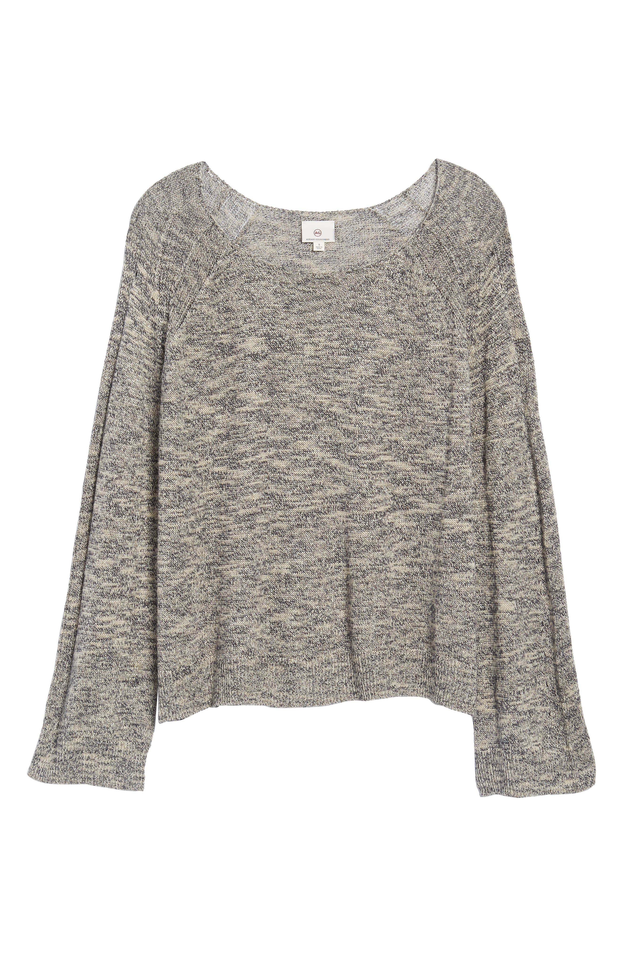 Flora Sweater,                             Alternate thumbnail 6, color,                             Speckled Navy/ Beige