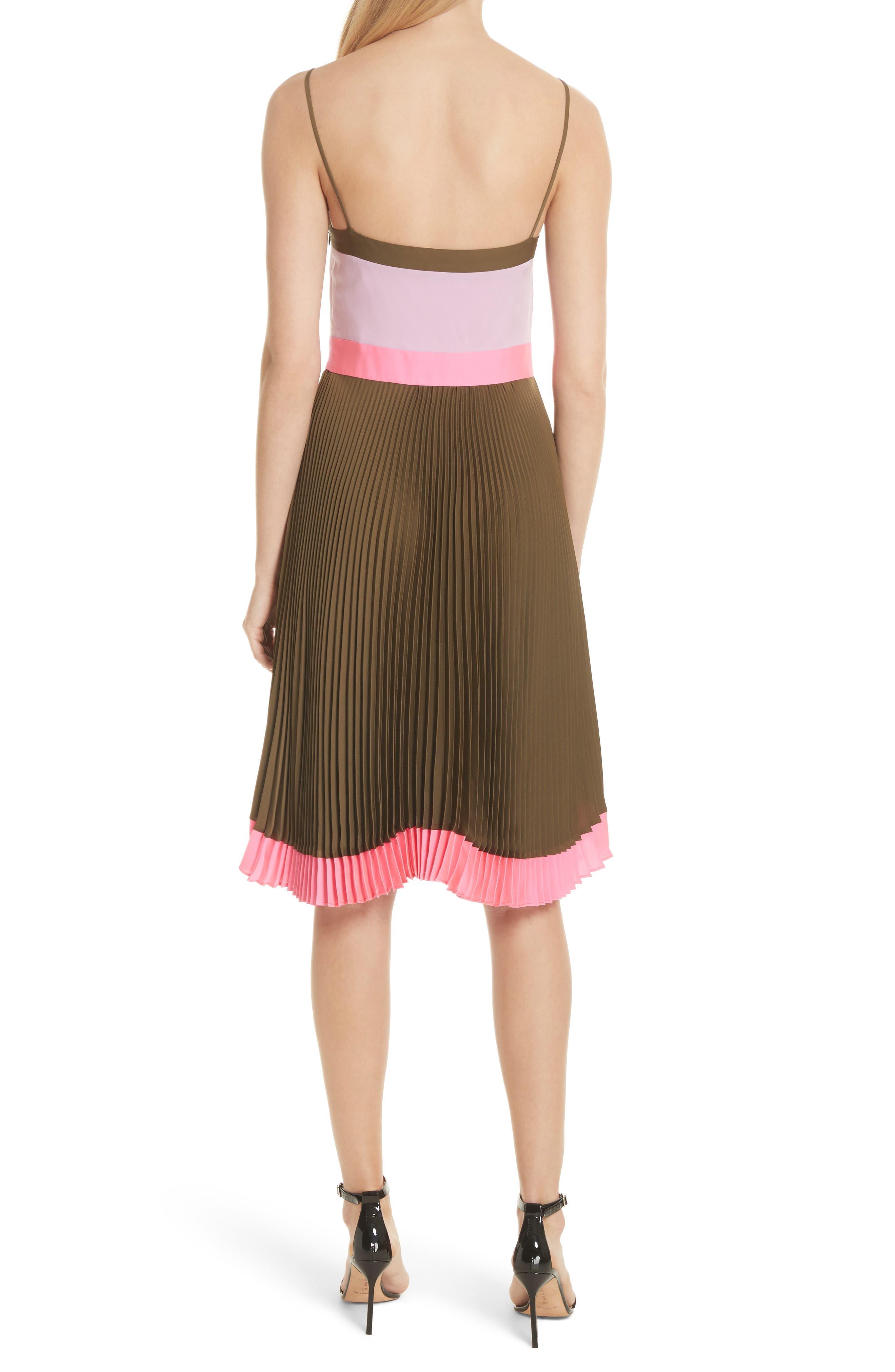 Jill Pleated Stretch Silk Dress,                             Alternate thumbnail 2, color,                             Olive/ Petal/ Fluo Pink