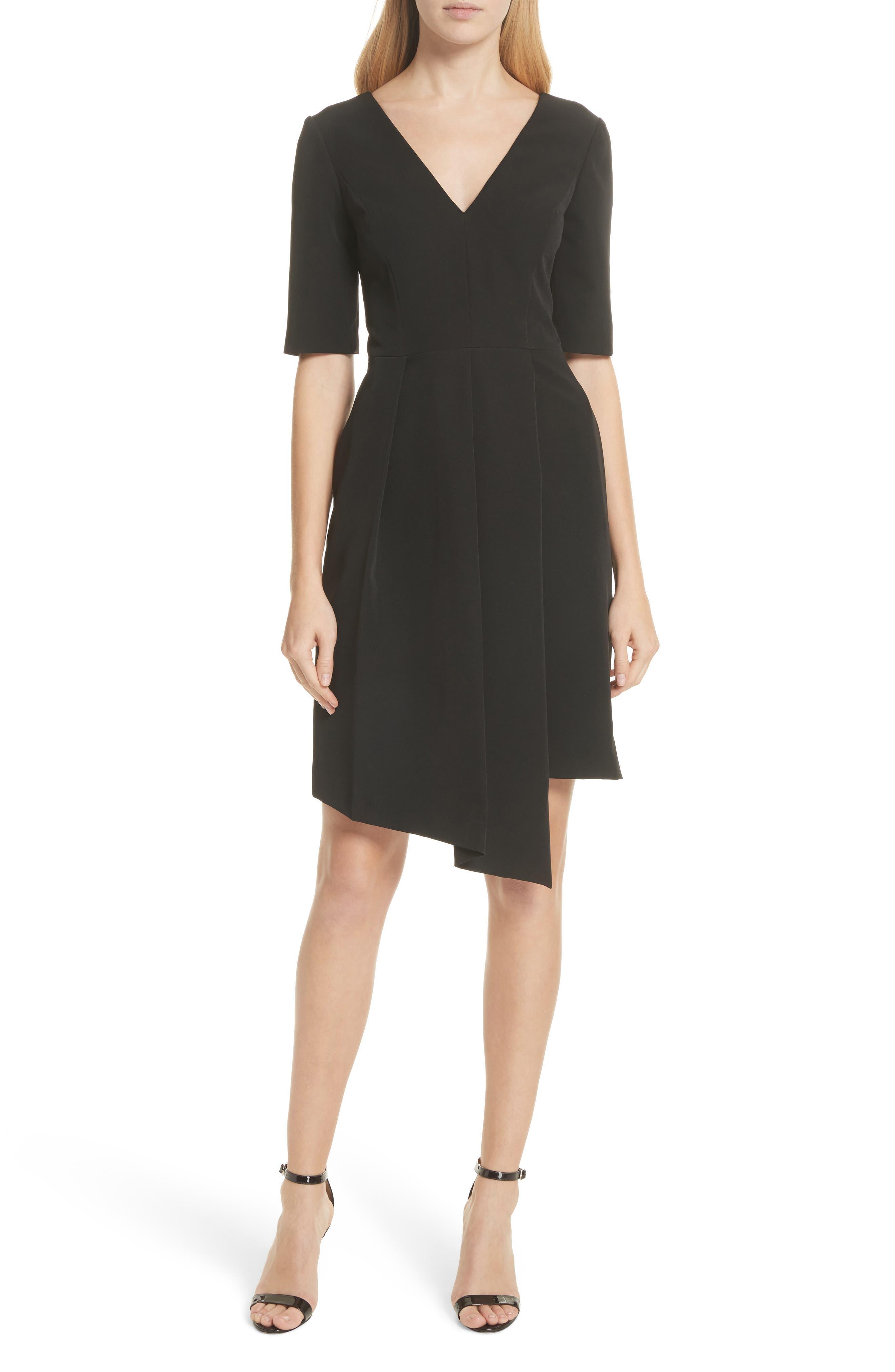 Asymmetrical Sheath Dress,                             Main thumbnail 1, color,                             Black