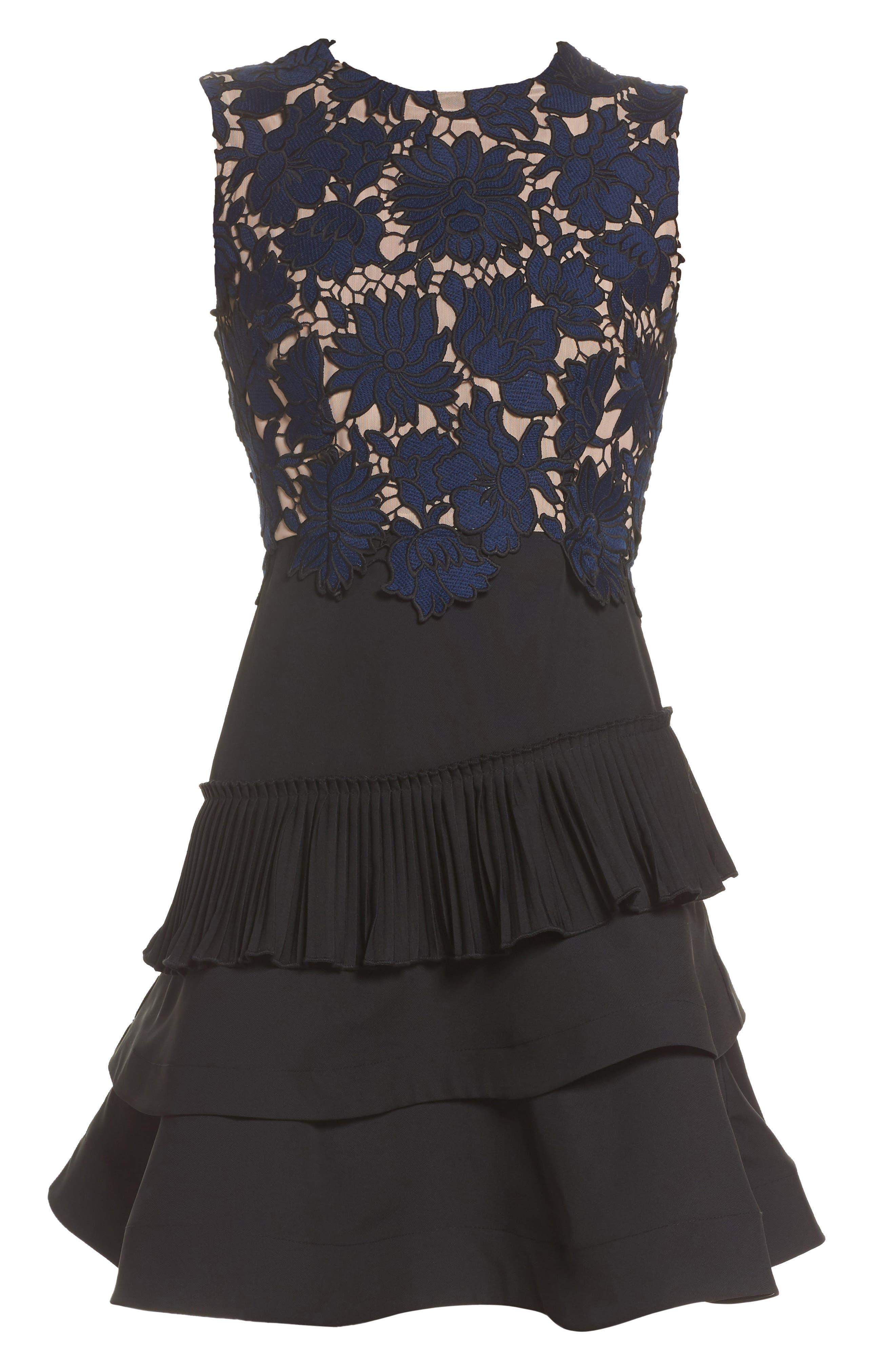 Alexa Lace & Ruffle Tier Dress,                             Alternate thumbnail 7, color,                             Black/ Navy