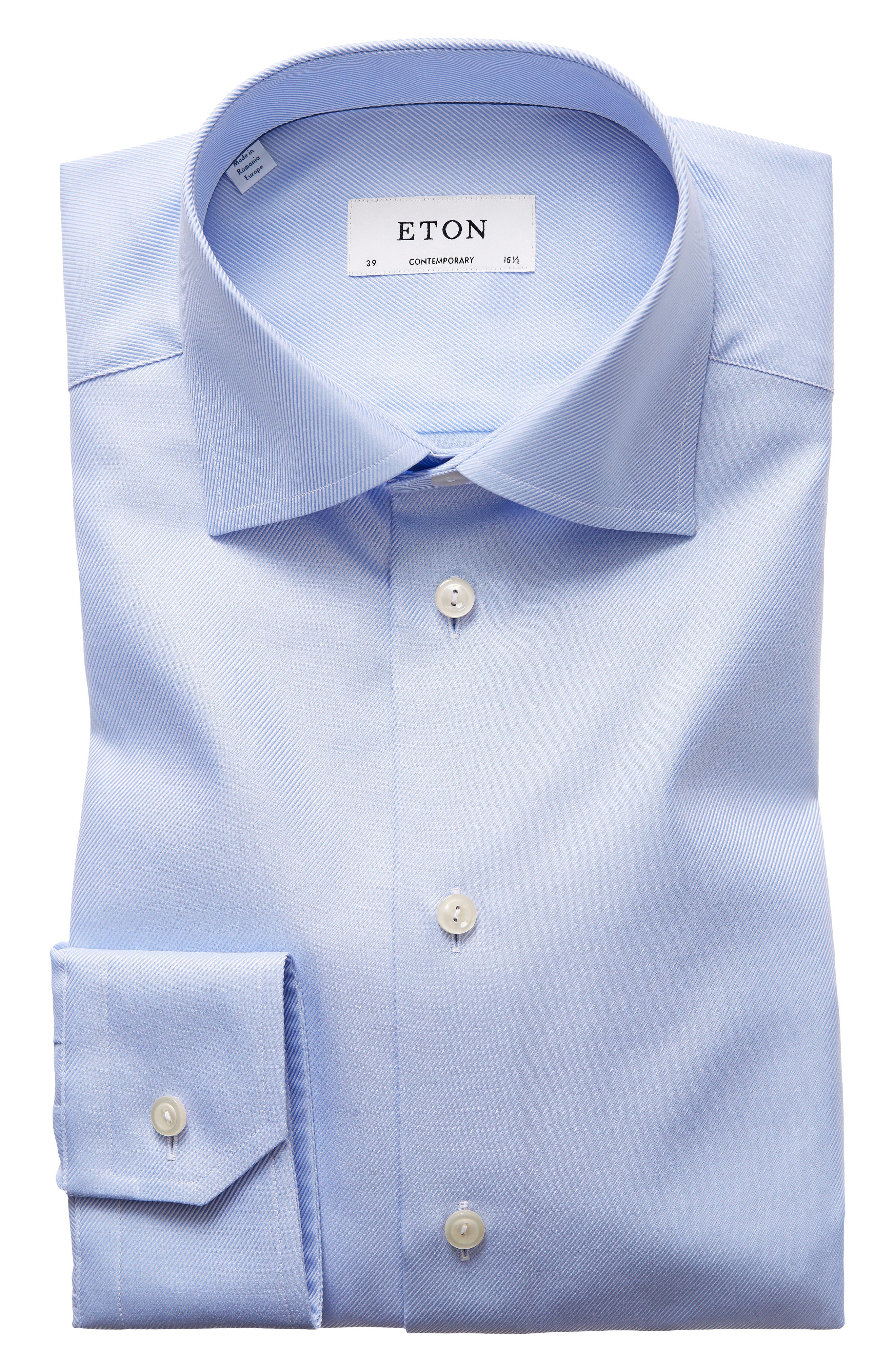 Contemporary Fit Cavalry Twill Dress Shirt,                         Main,                         color, Blue