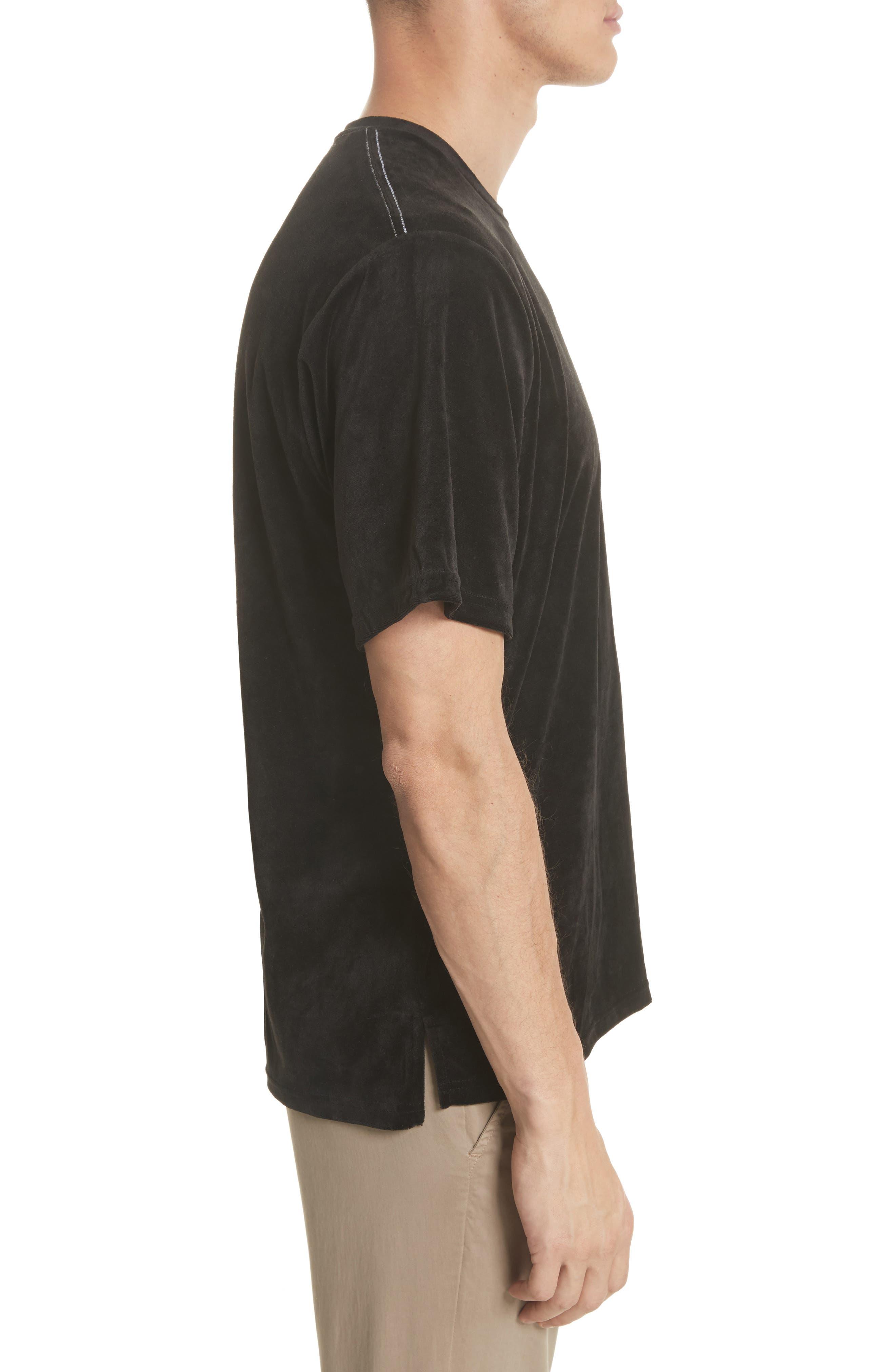 Velour T-Shirt,                             Alternate thumbnail 3, color,                             Black