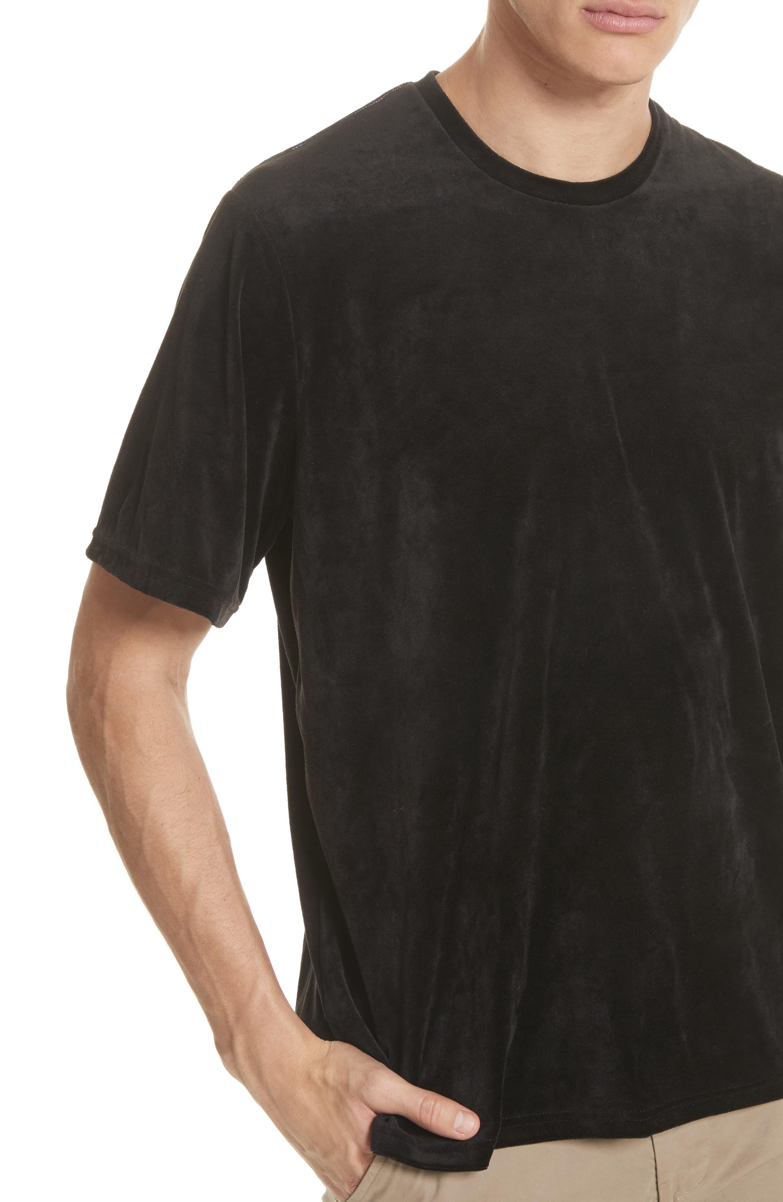 Velour T-Shirt,                             Alternate thumbnail 4, color,                             Black