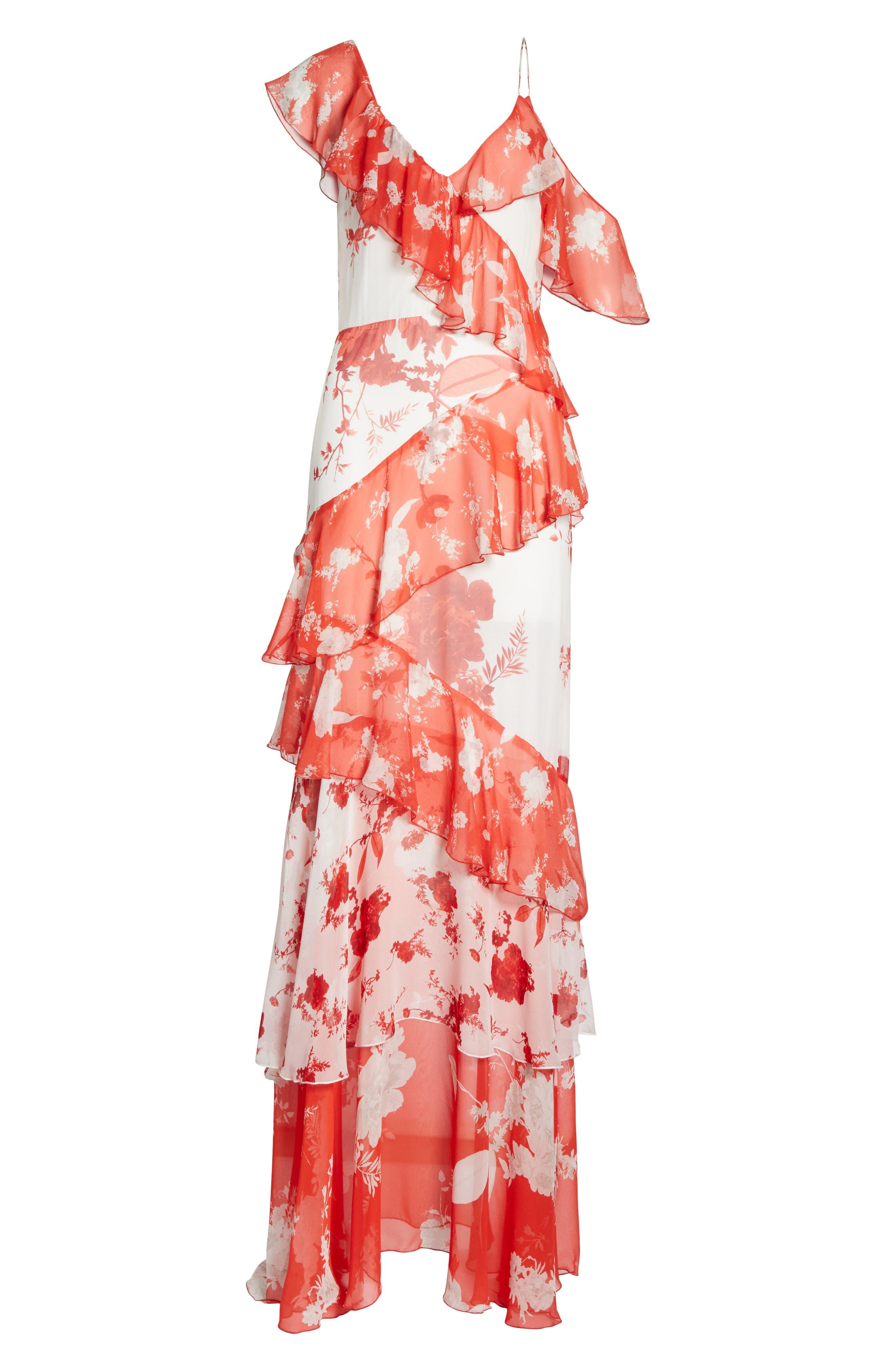 Olympia Asymmetrical Silk Maxi Dress,                             Alternate thumbnail 6, color,                             Damask Rose- Soft White