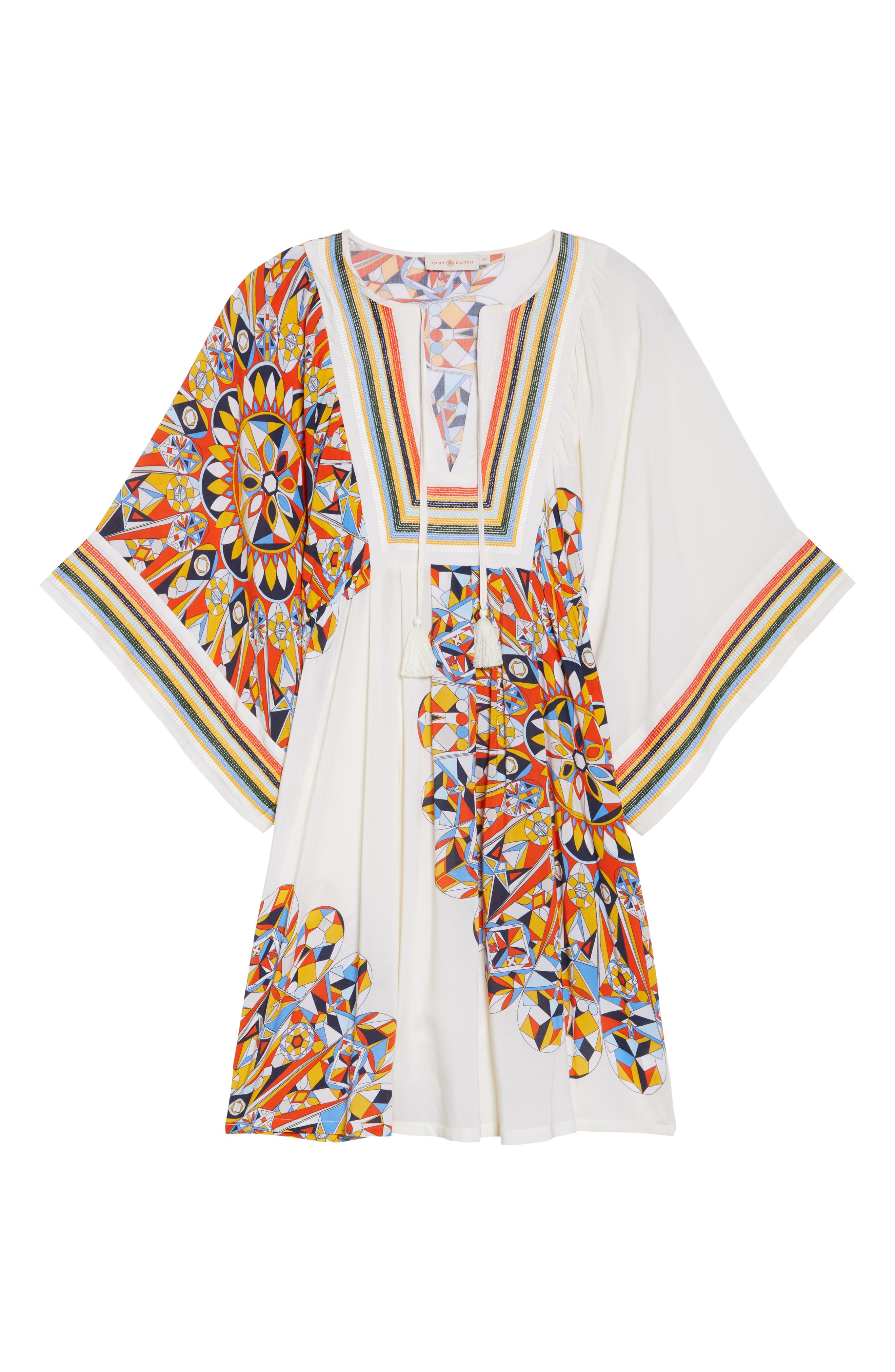 Geometric Tunic Cover-Up,                             Alternate thumbnail 6, color,                             Sweet Tangerine Psychedelic