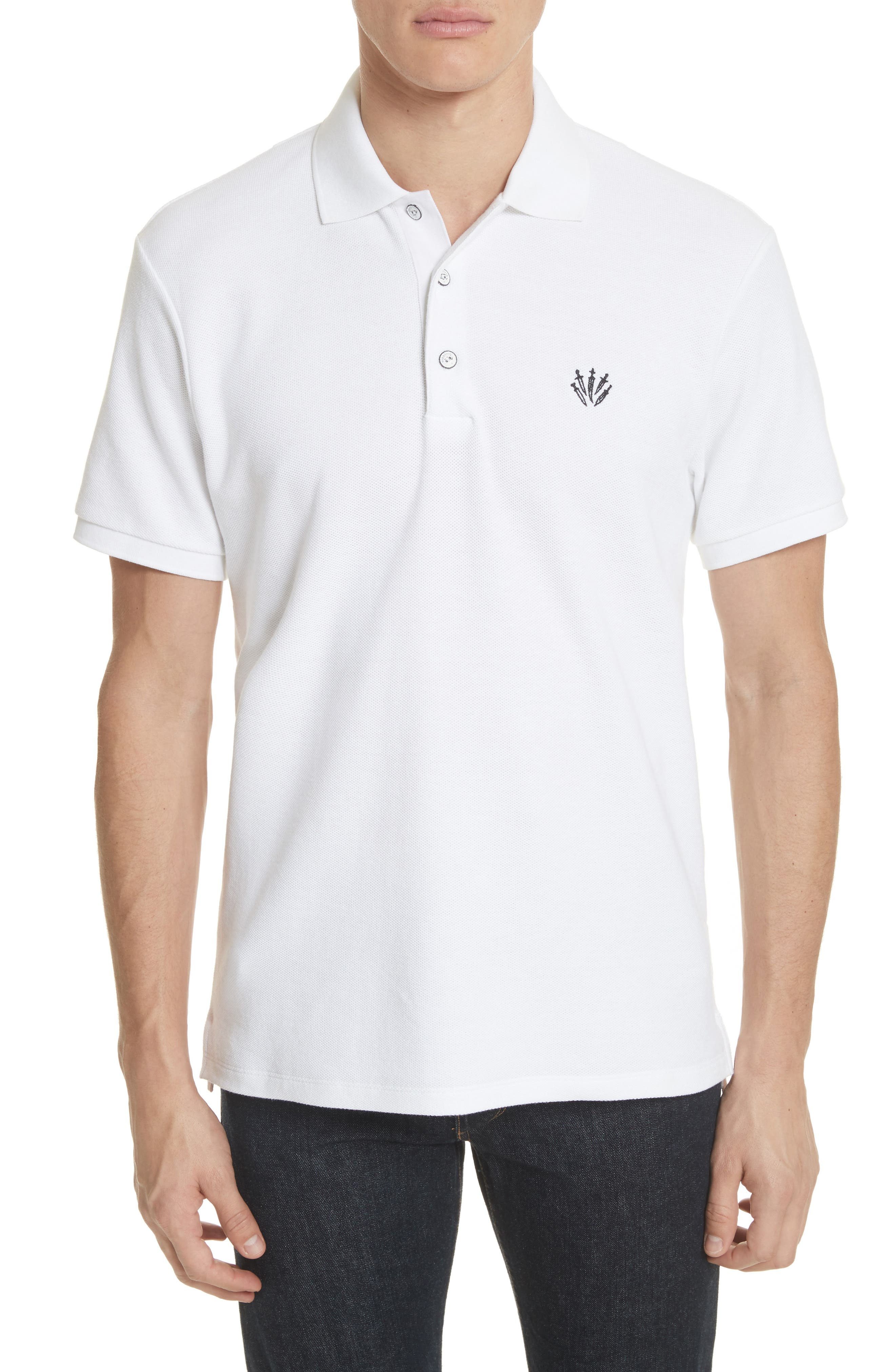 Embroidered Dagger Piqué Polo,                             Main thumbnail 1, color,                             White