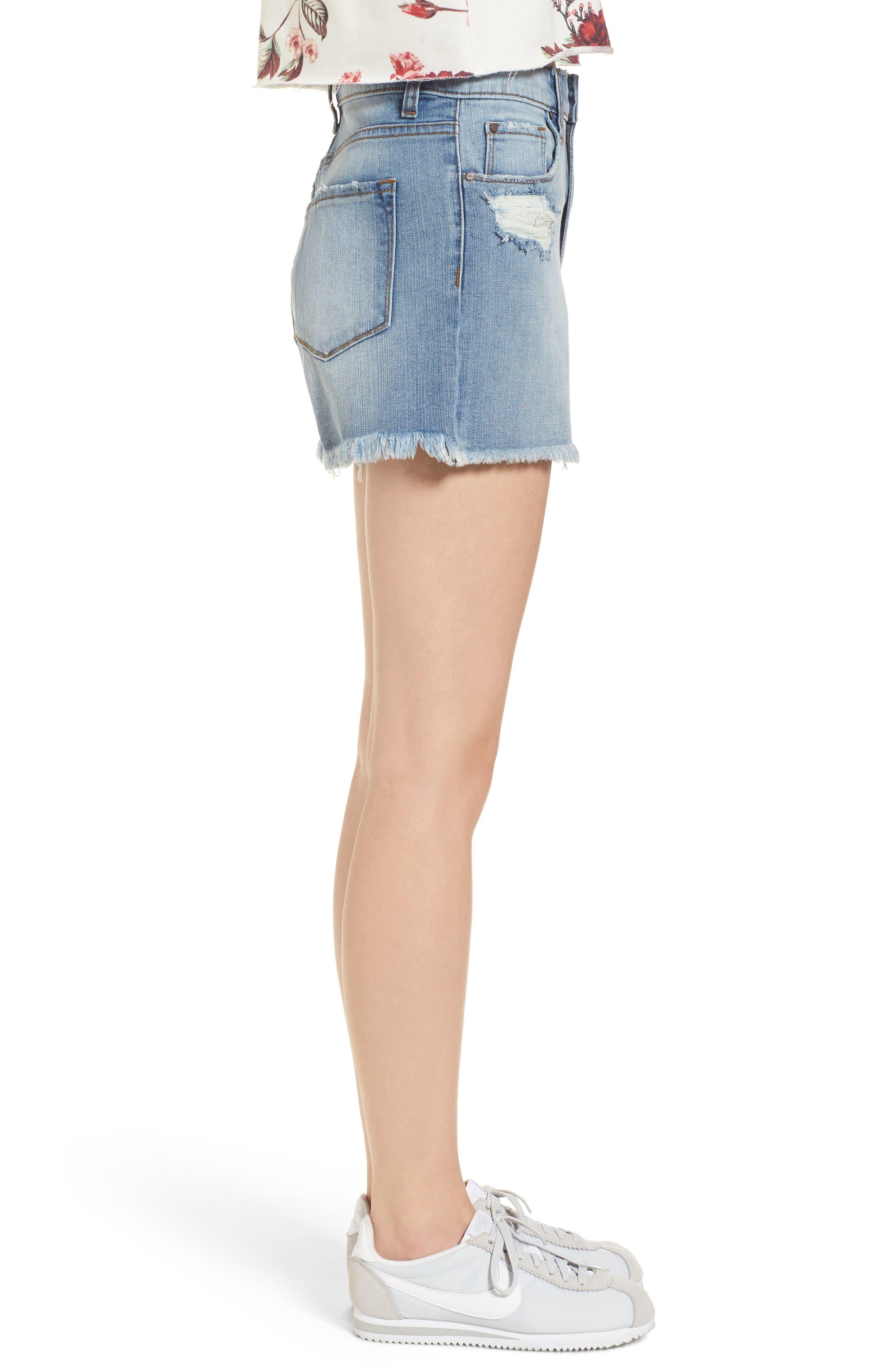 High Waist Distressed Denim Shorts,                             Alternate thumbnail 3, color,                             Medium Wash