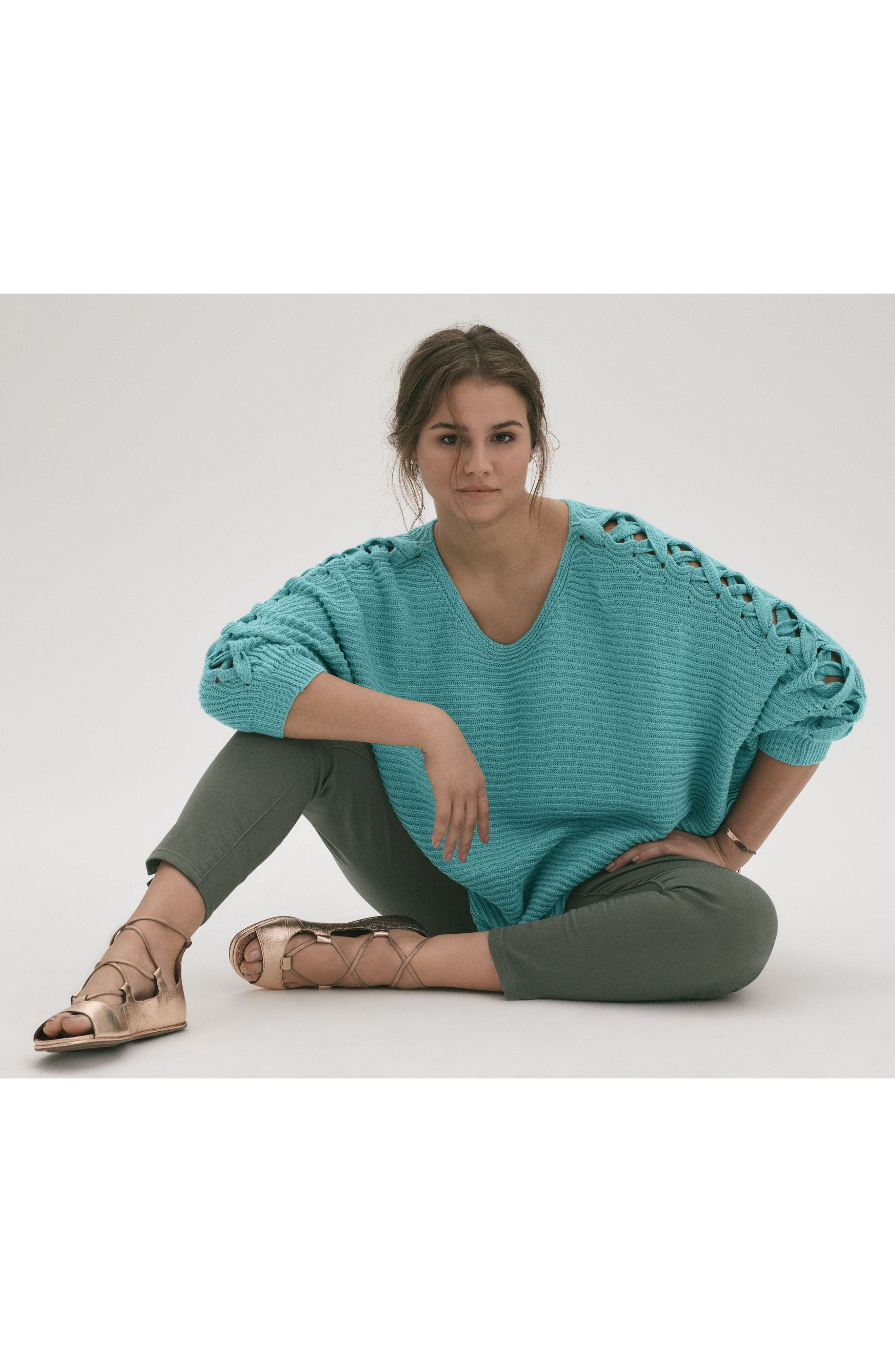 Lace-Up Sleeve Sweater,                             Alternate thumbnail 7, color,