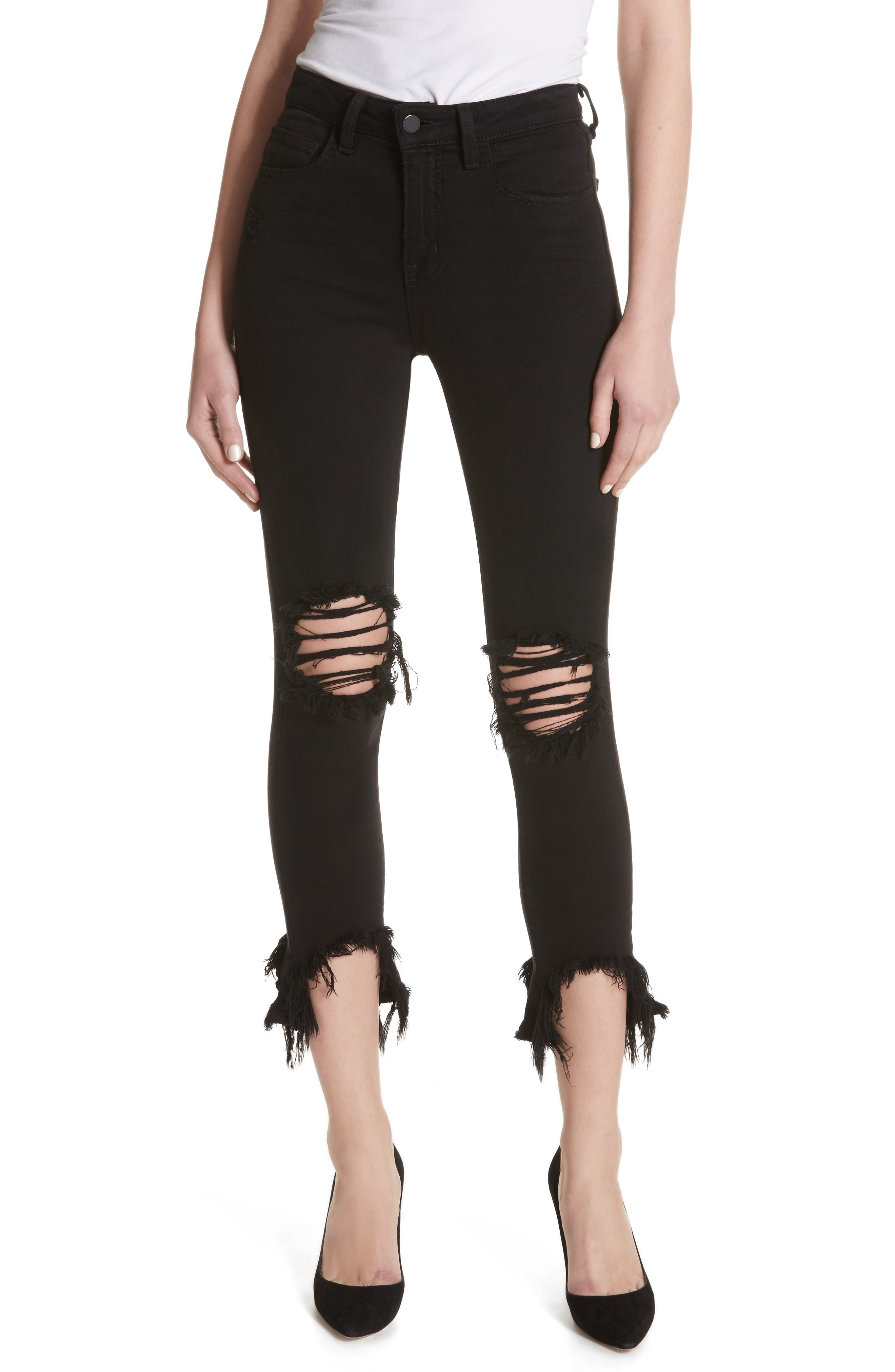 Highline High Waist Fray Hem Skinny Jeans,                         Main,                         color, Saturated Black Destruct