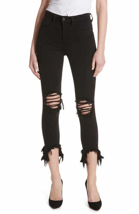a29028237f L AGENCE Highline High Waist Fray Hem Skinny Jeans (Saturated Black  Destruct)
