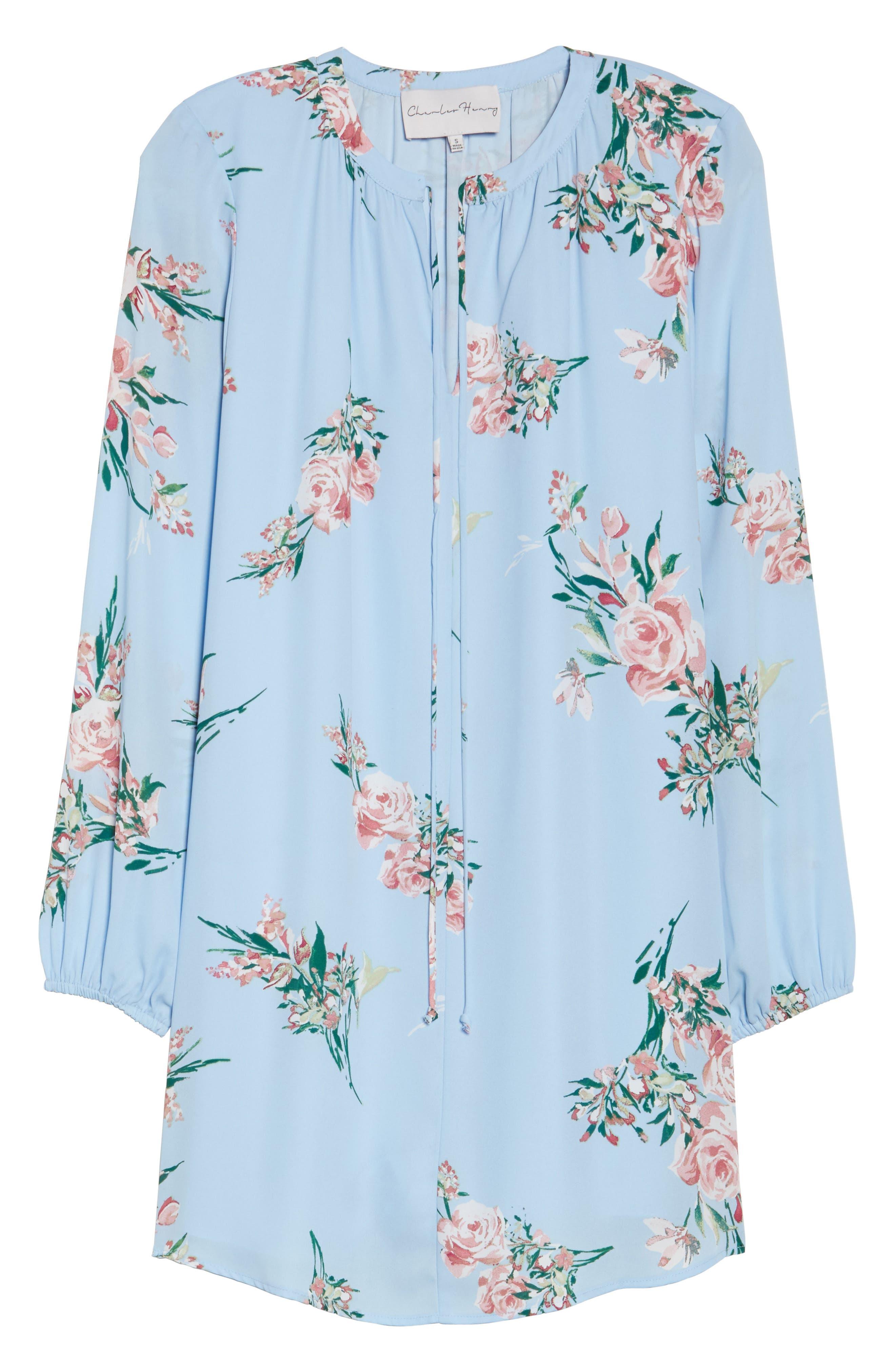 Floral Shift Dress,                             Alternate thumbnail 6, color,                             Blue Floral