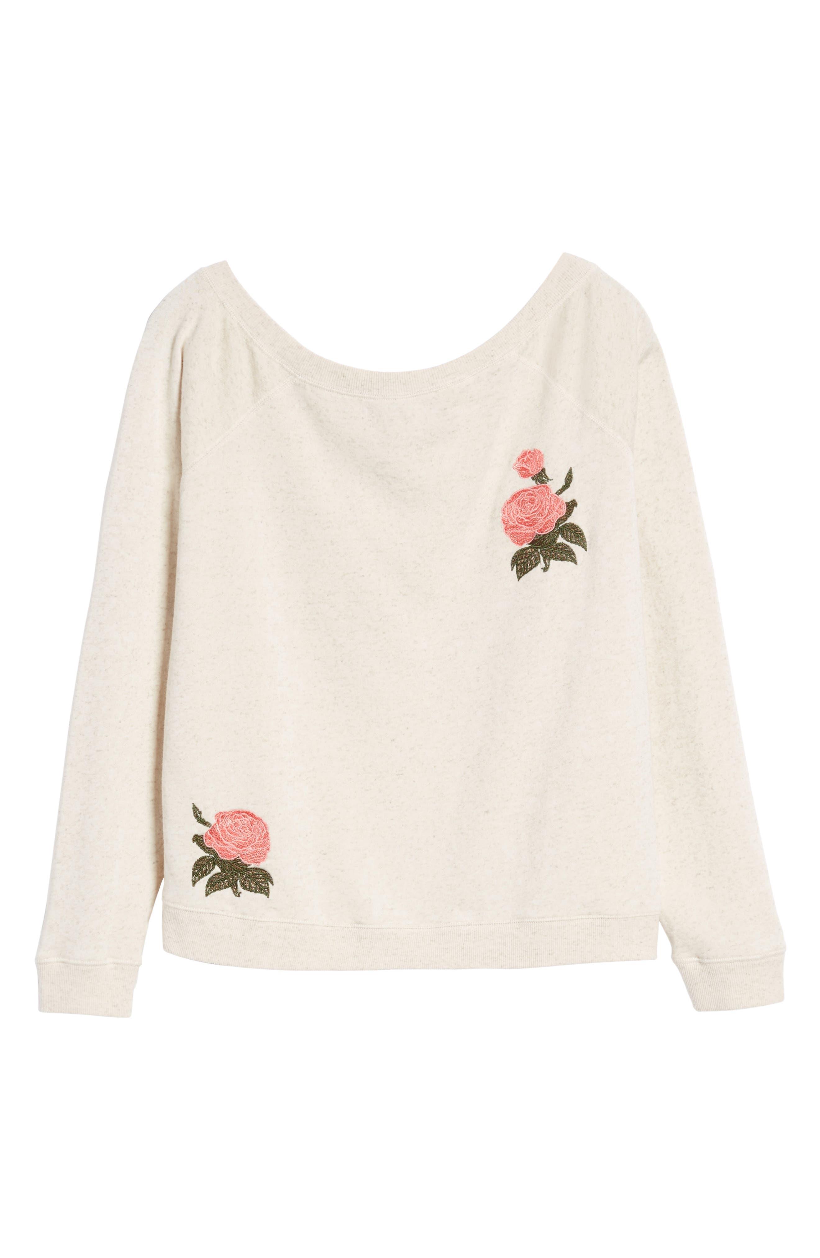 Embroidered Rose Sweatshirt,                             Alternate thumbnail 6, color,                             Natural Multi