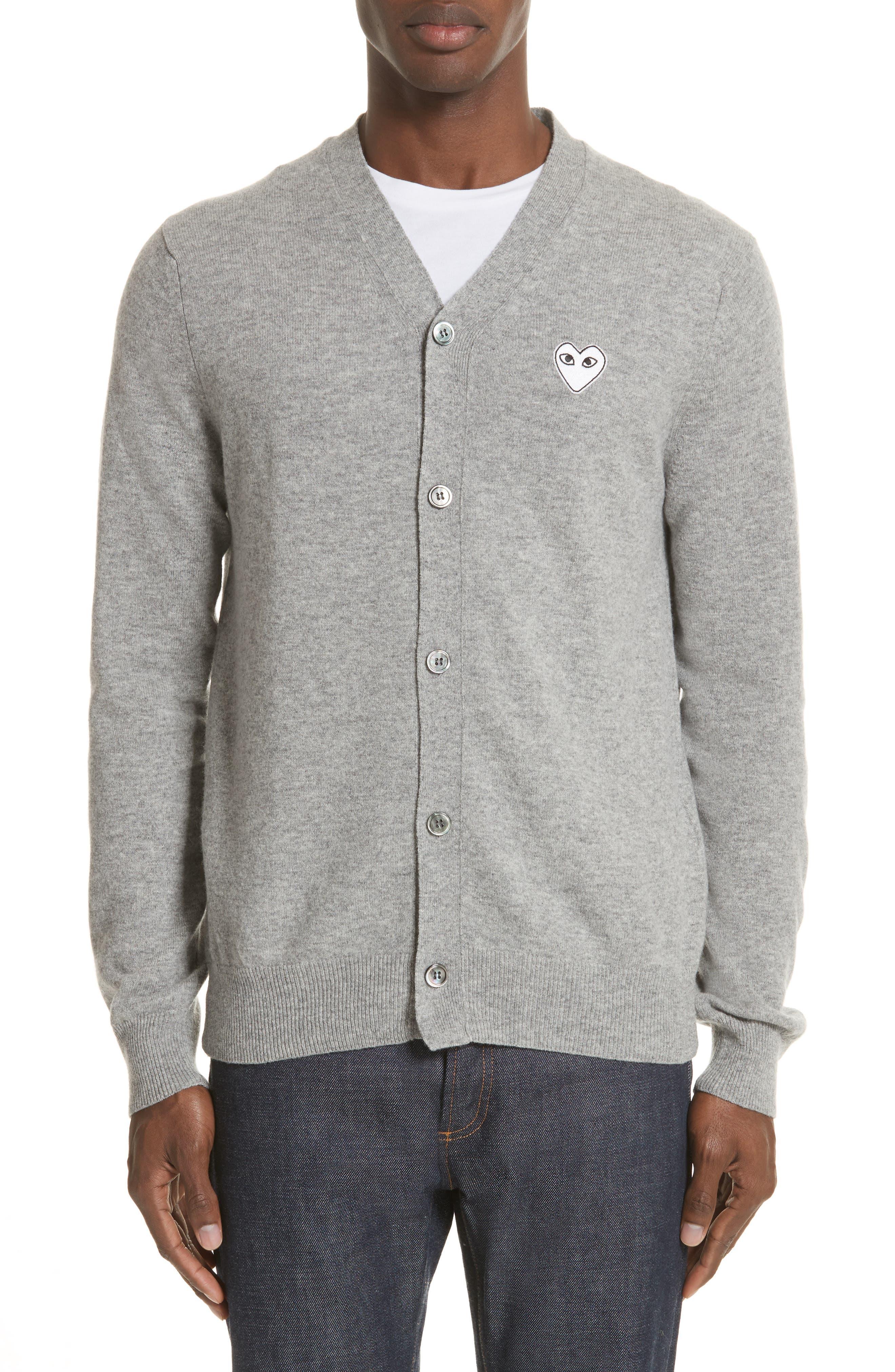 White Heart Wool Cardigan,                             Main thumbnail 1, color,                             Light Grey