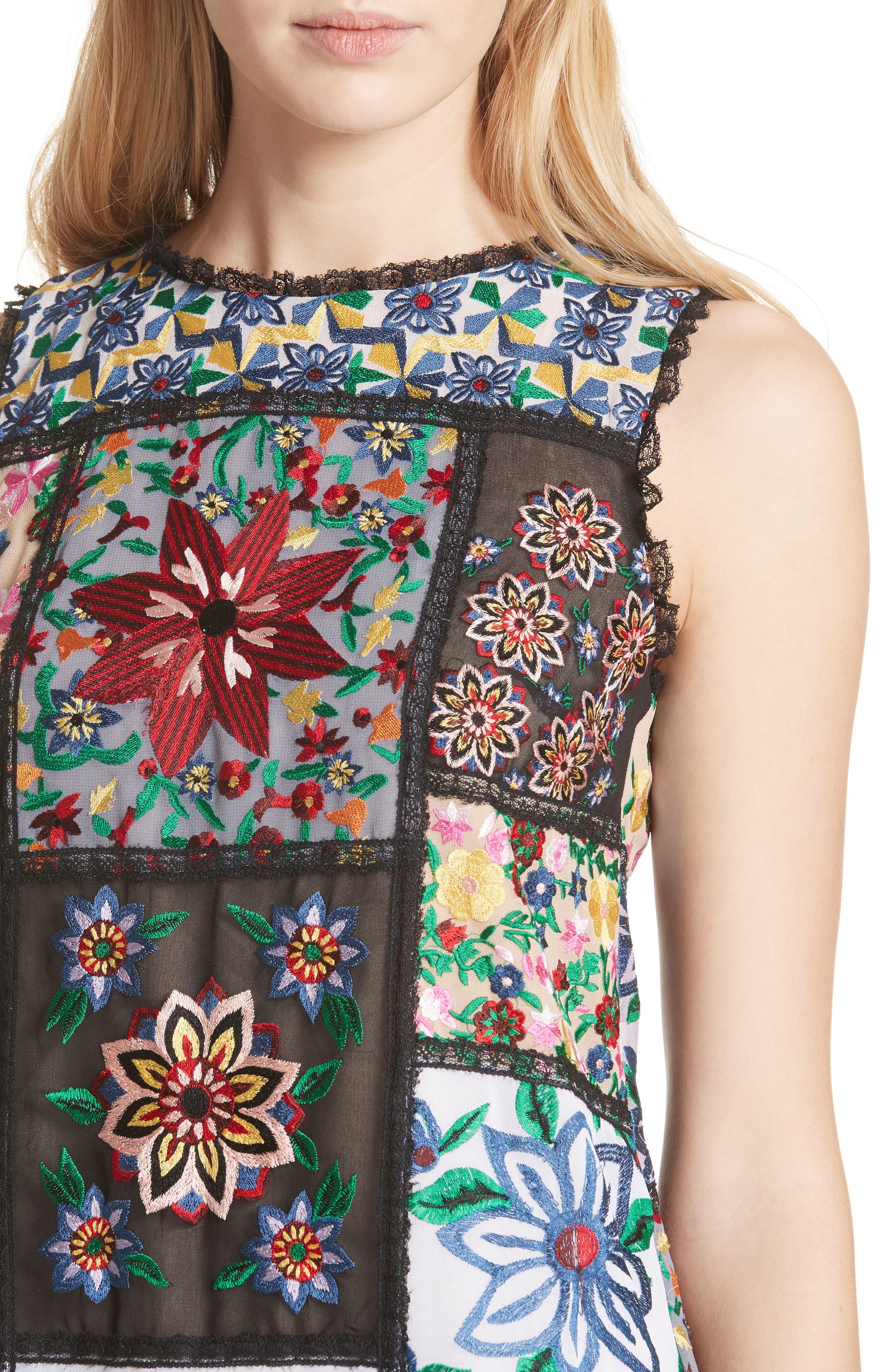 Marcelina Embroidered Mini Dress,                             Alternate thumbnail 4, color,                             Multi