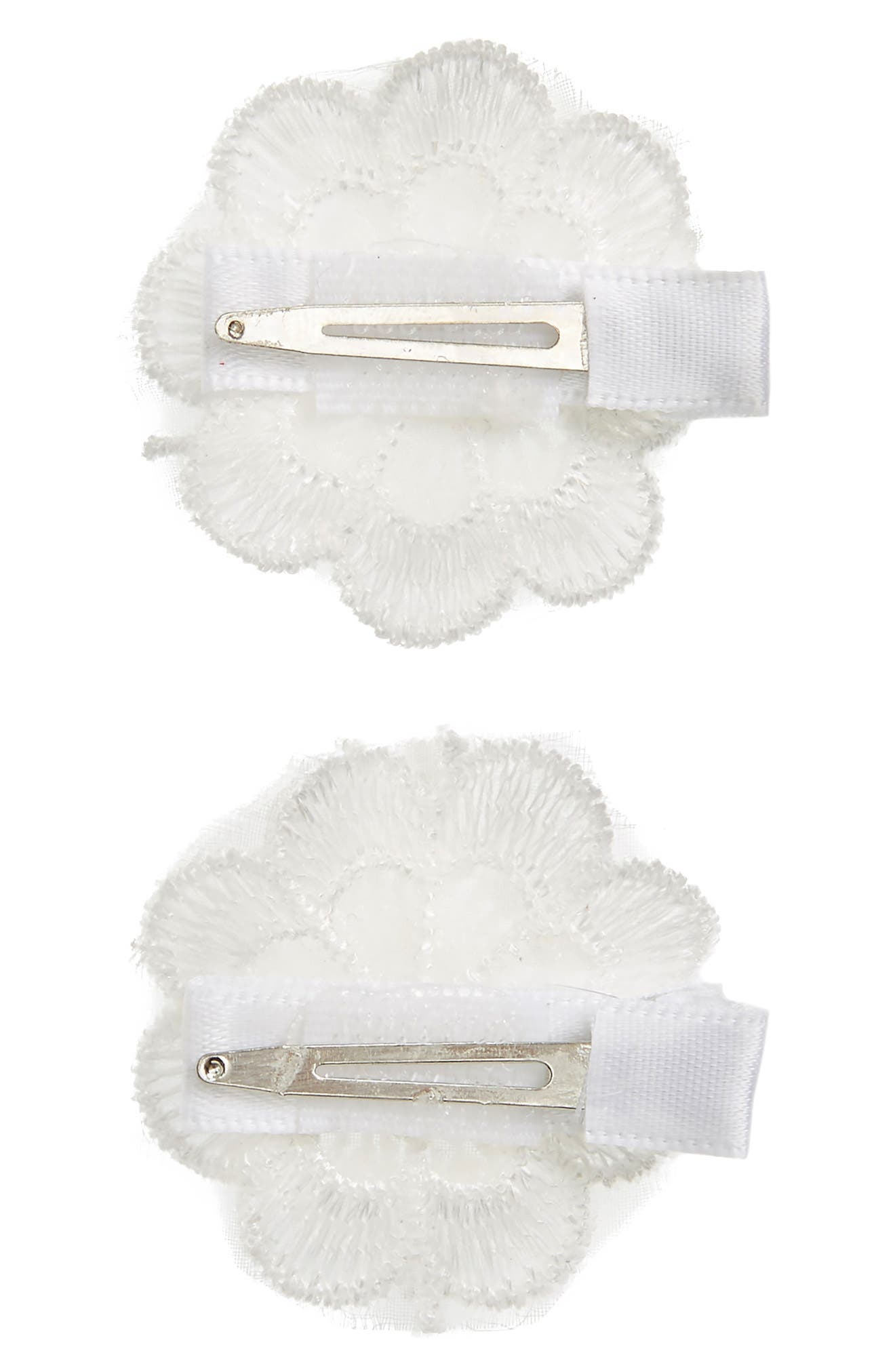 2-Pack Lace Flower Clips,                             Alternate thumbnail 3, color,                             White