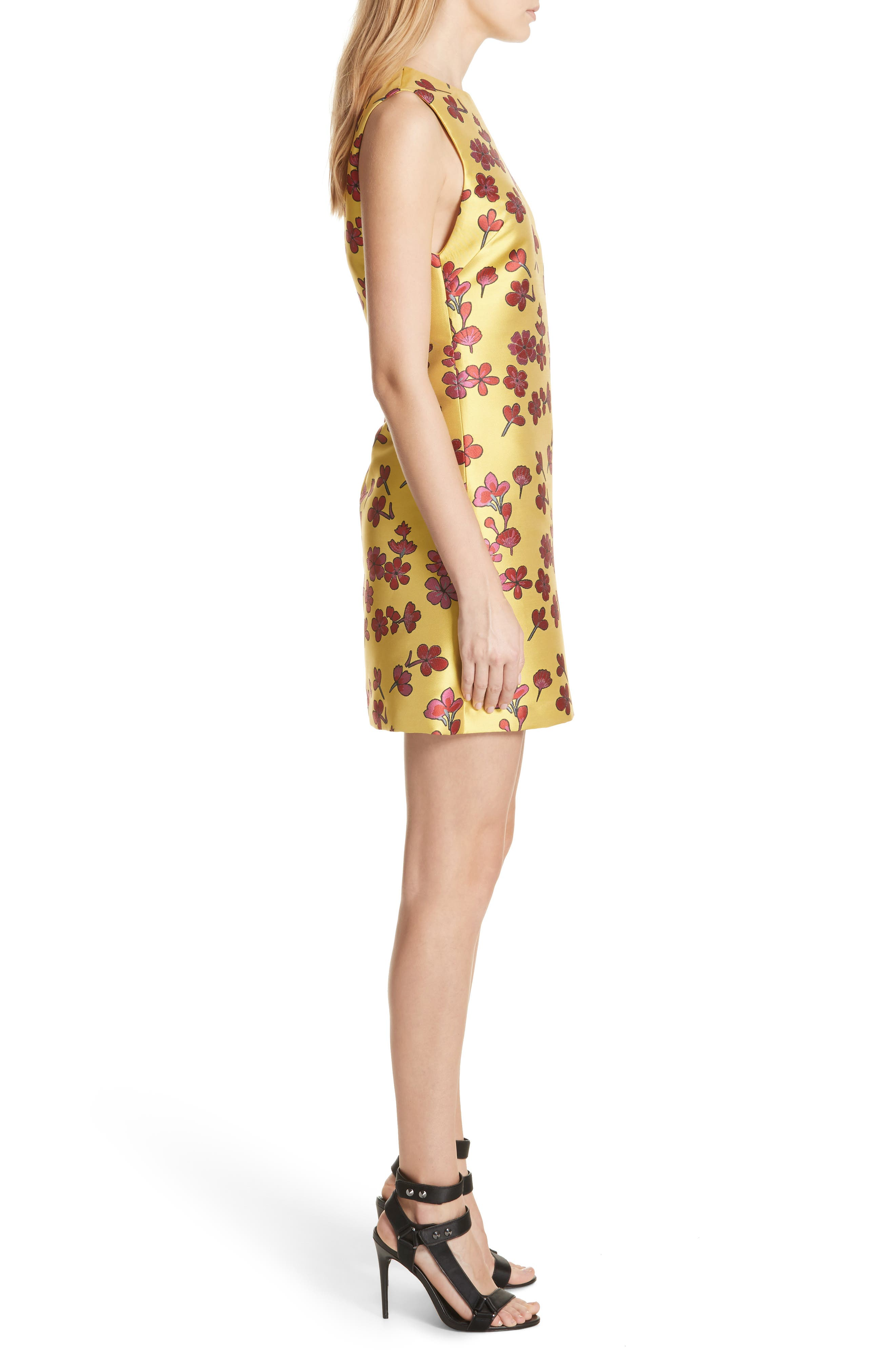 Coley Floral A-Line Shift Dress,                             Alternate thumbnail 3, color,                             Sunflower/ Poppy